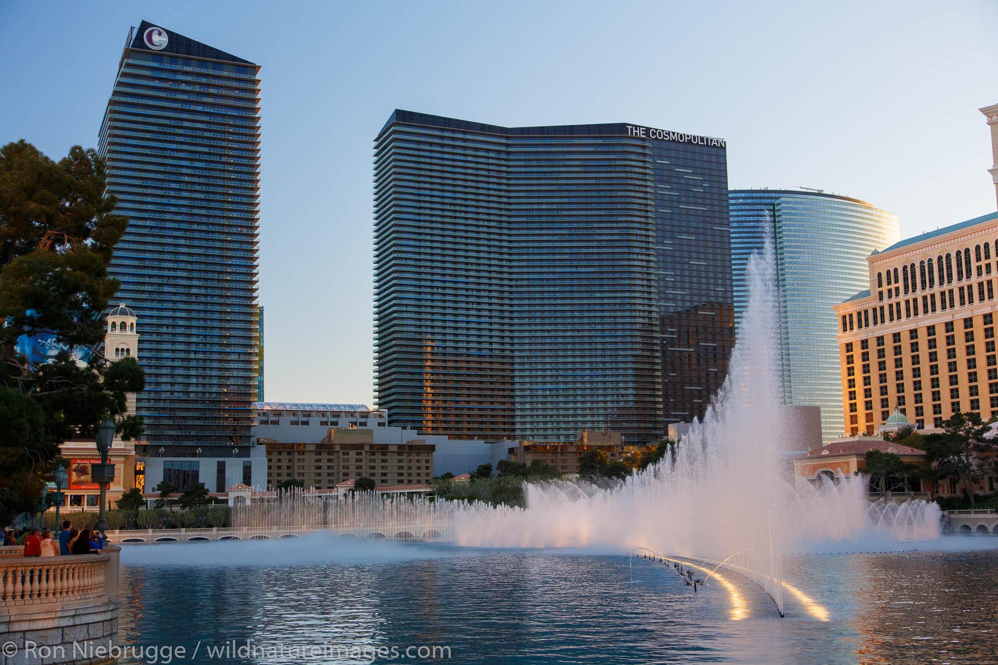 The Bellagio Fountains and The Cosmopolitan of Las Vegas Resort and Casino, Las Vegas, Nevada.