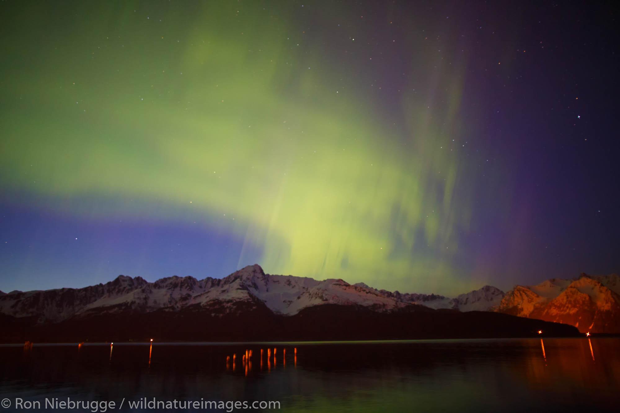 Aurora Borealis over Resurrection Bay, Seward, Alaska.