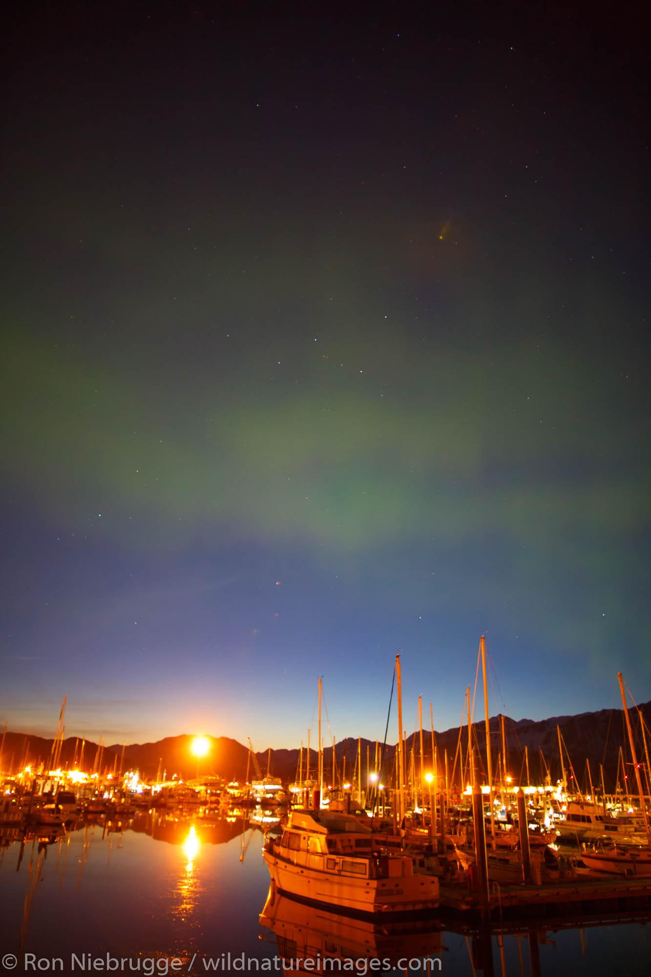 Aurora Borealis over the Seward Boat Harbor, Resurrection Bay, Seward, Alaska.