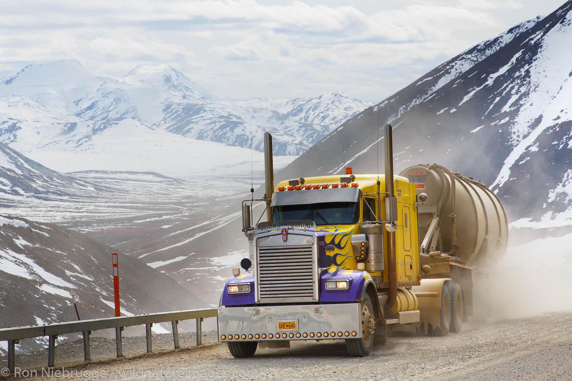 A truck climbs Atigun Pass, Dalton Highway, Alaska.