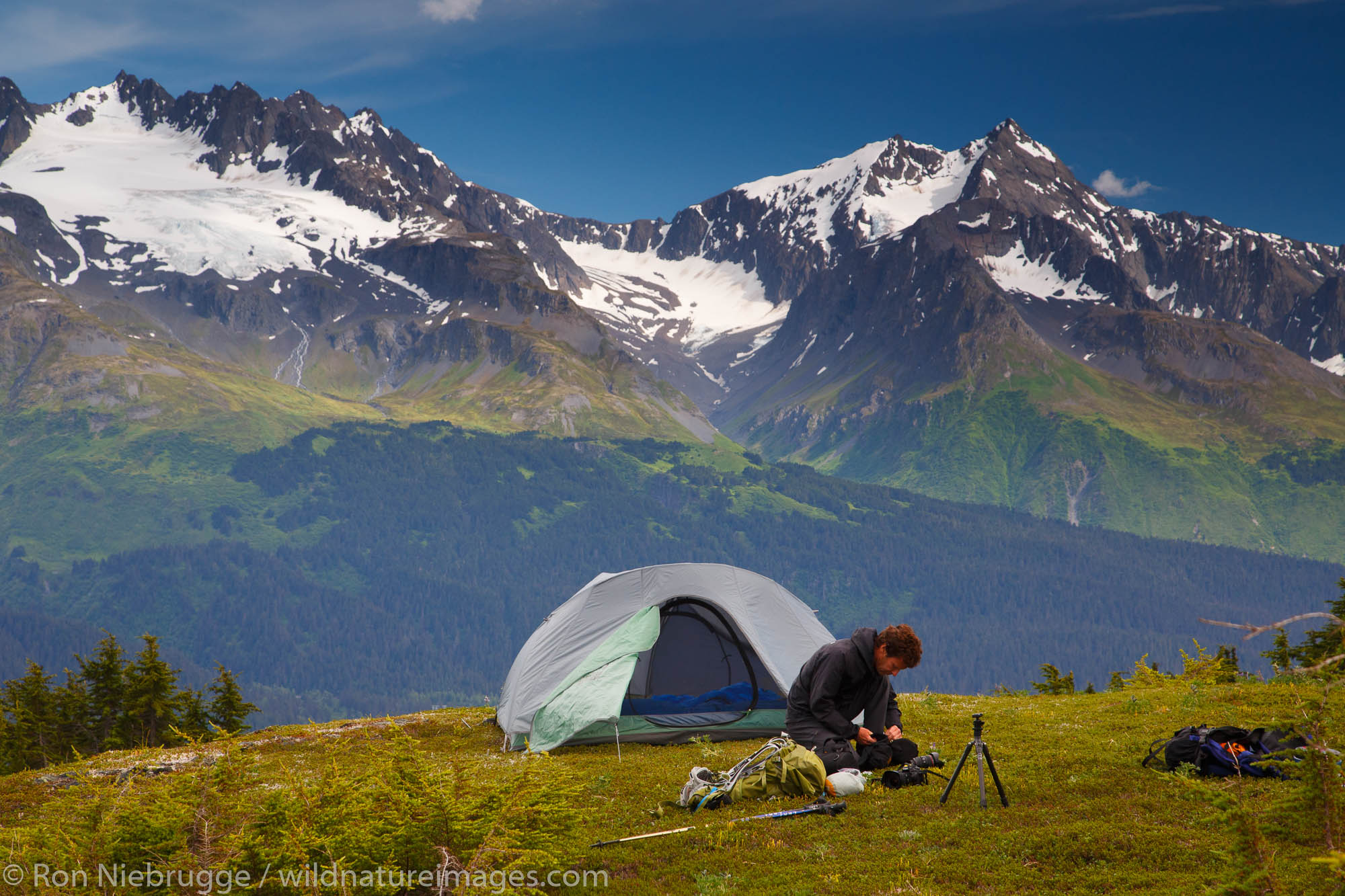 Backpacking along the Lost Lake Loop Trail, Chugach National Forest, Seward, Alaska. (model released)