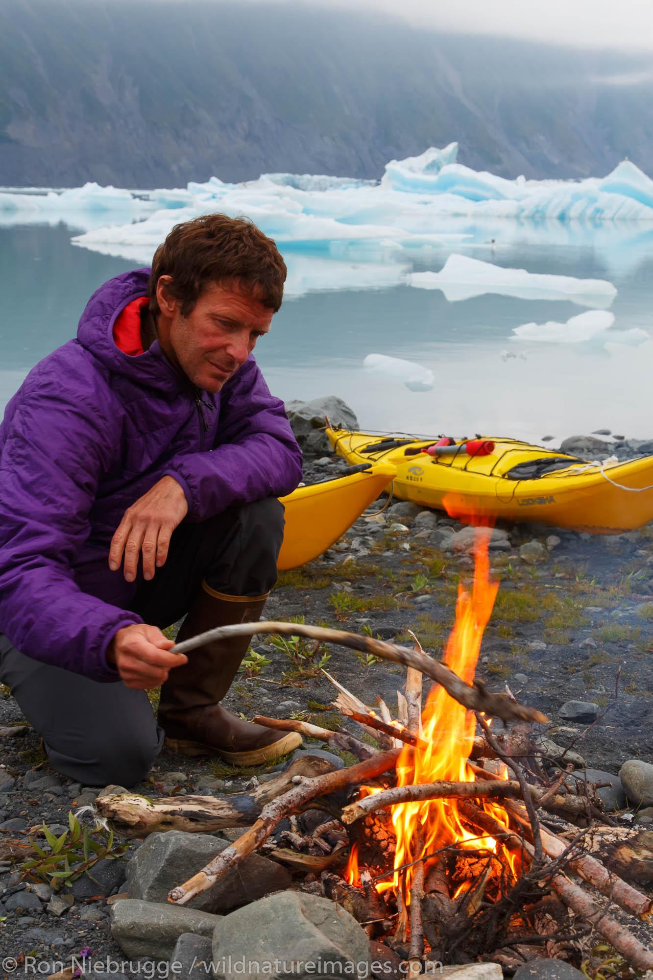 Kayaking and camping in Bear Glacier Lagoon, Kenai Fjords National Park, near Seward, Alaska.  (model released)
