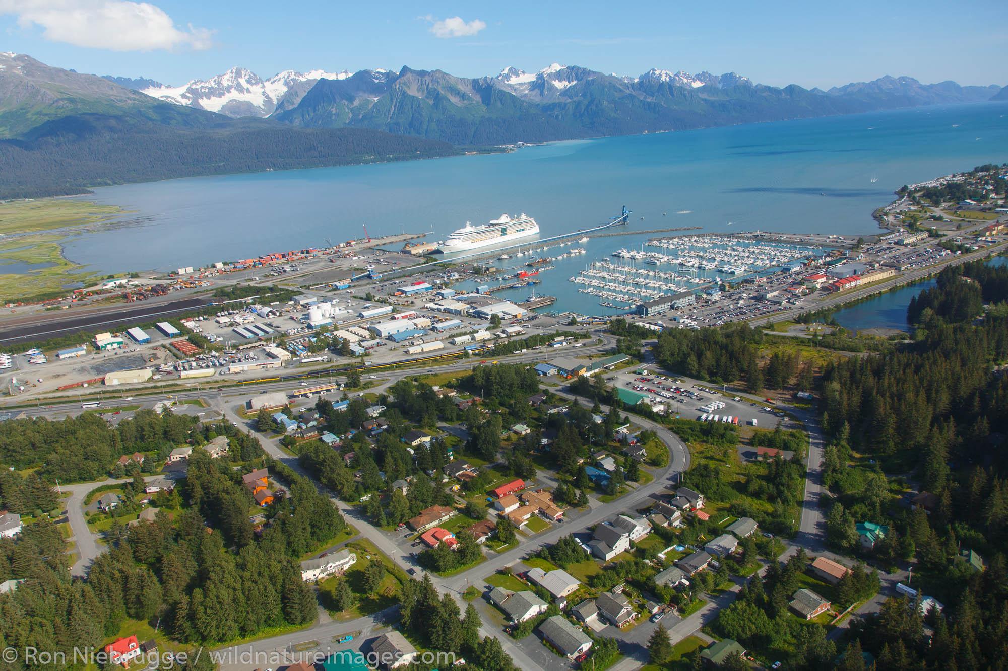 Aerial of Resurrection Bay and Seward, Alaska.