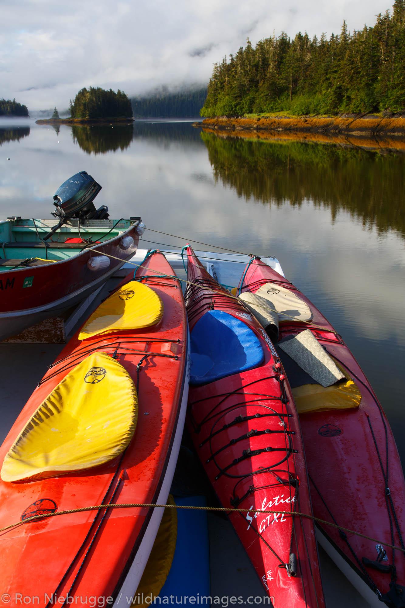 Kayaks in Berg Bay, Tongass National Forest, Alaska.