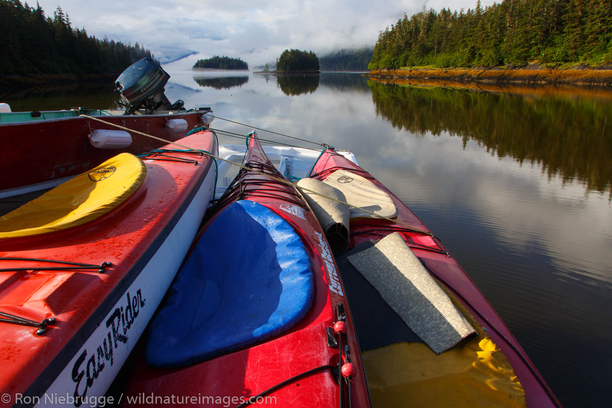 Kayaks in Berg Bay, Tongass National Forest, Alaska.
