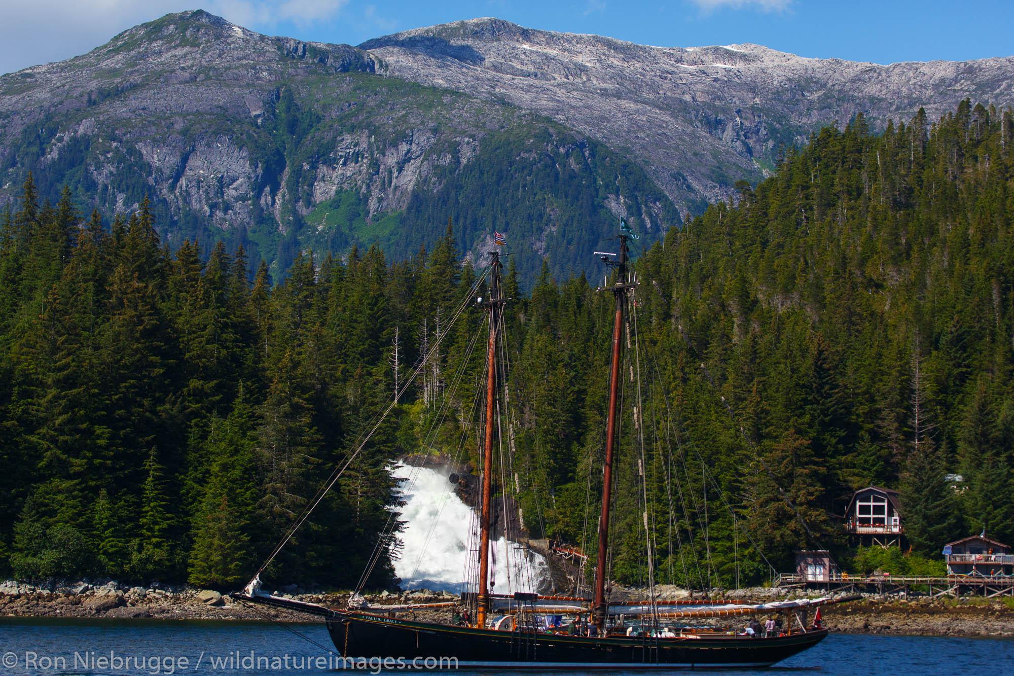 Sailing ship in Warm Springs Bay, Baranof Island, Tongass National Forest, Alaska.