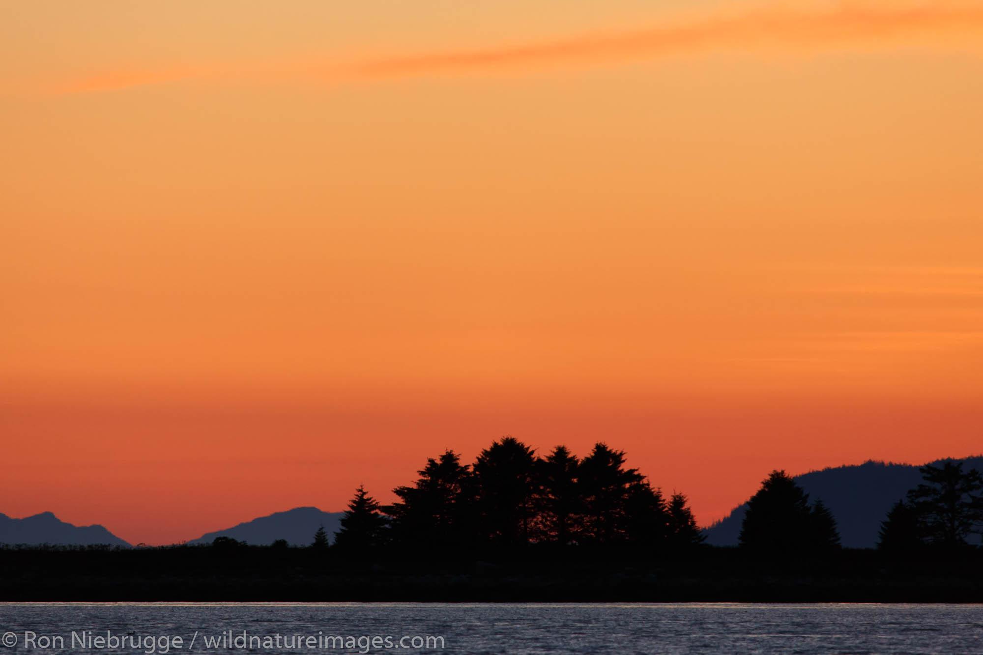 Sunset on Frederick Sound, Tongass National Forest, Alaska.