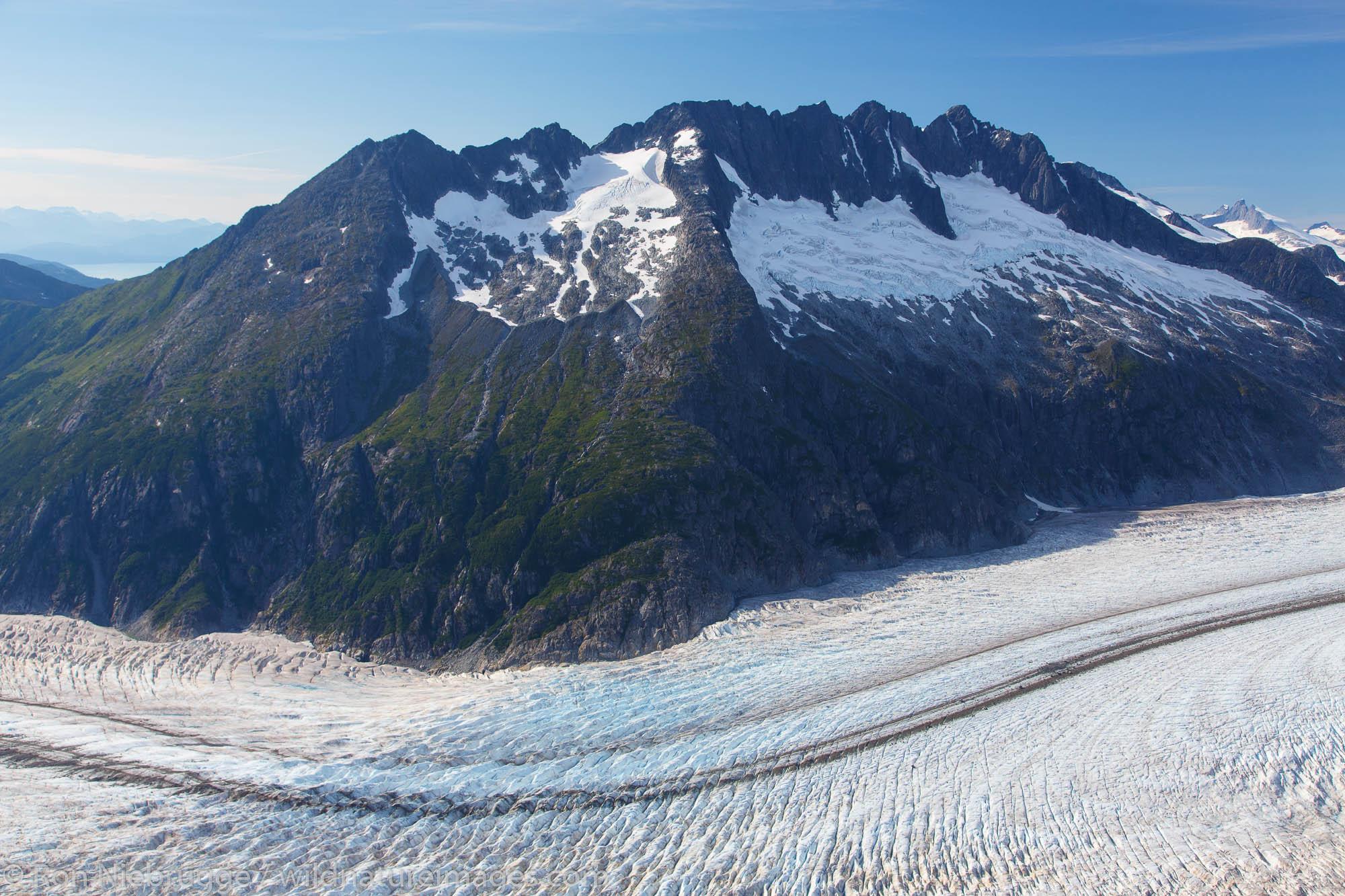Aerial of the Herbert Glacier, Tongass National Forest, near Juneau, Alaska