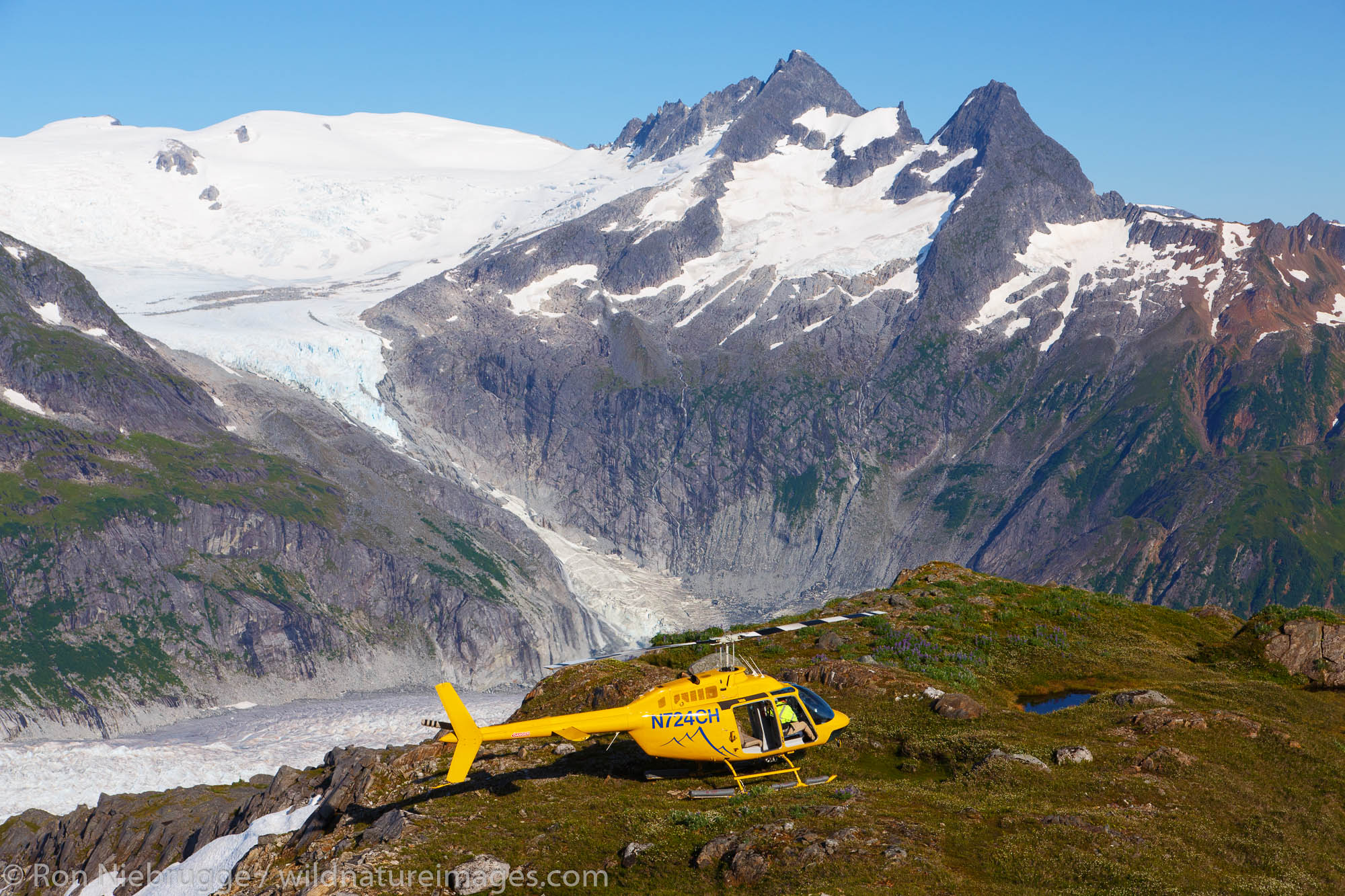 Helicopter on Mount Stroller White above the Mendenhall Glacier, Tongass National Forest, Alaska.