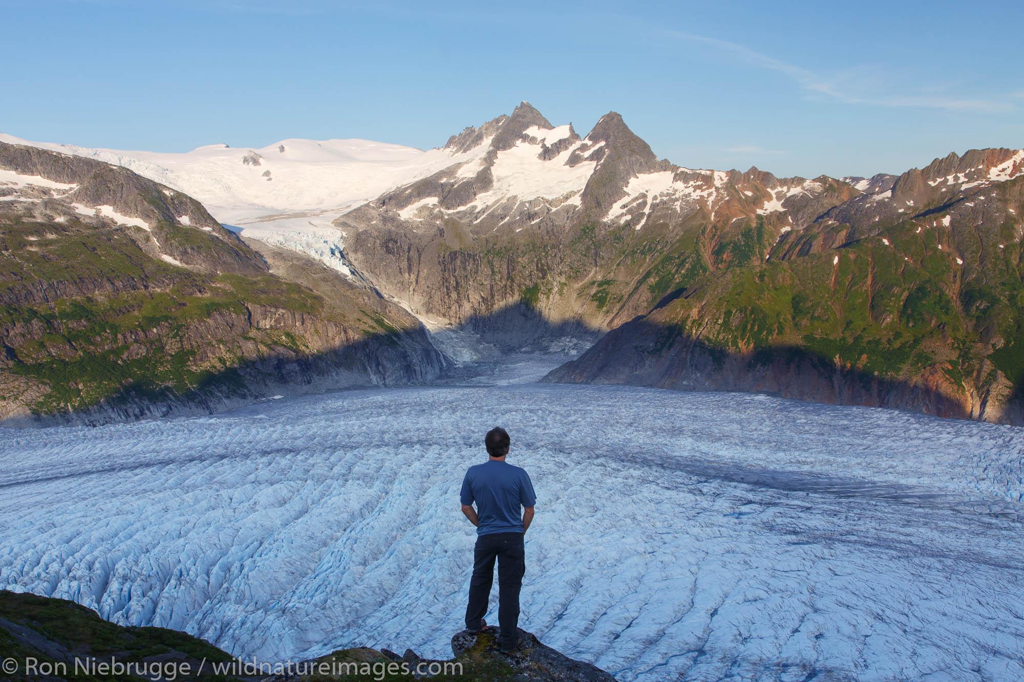 A hiker on Mount Stroller White above the Mendenhall Glacier, Tongass National Forest, Alaska. (model released)