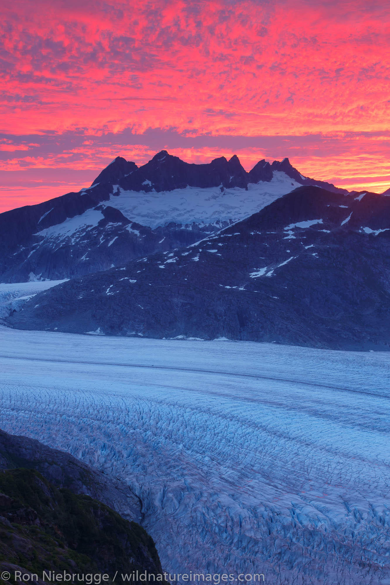 Sunrise From Mount Stroller White above the Mendenhall Glacier, Tongass National Forest, Alaska.