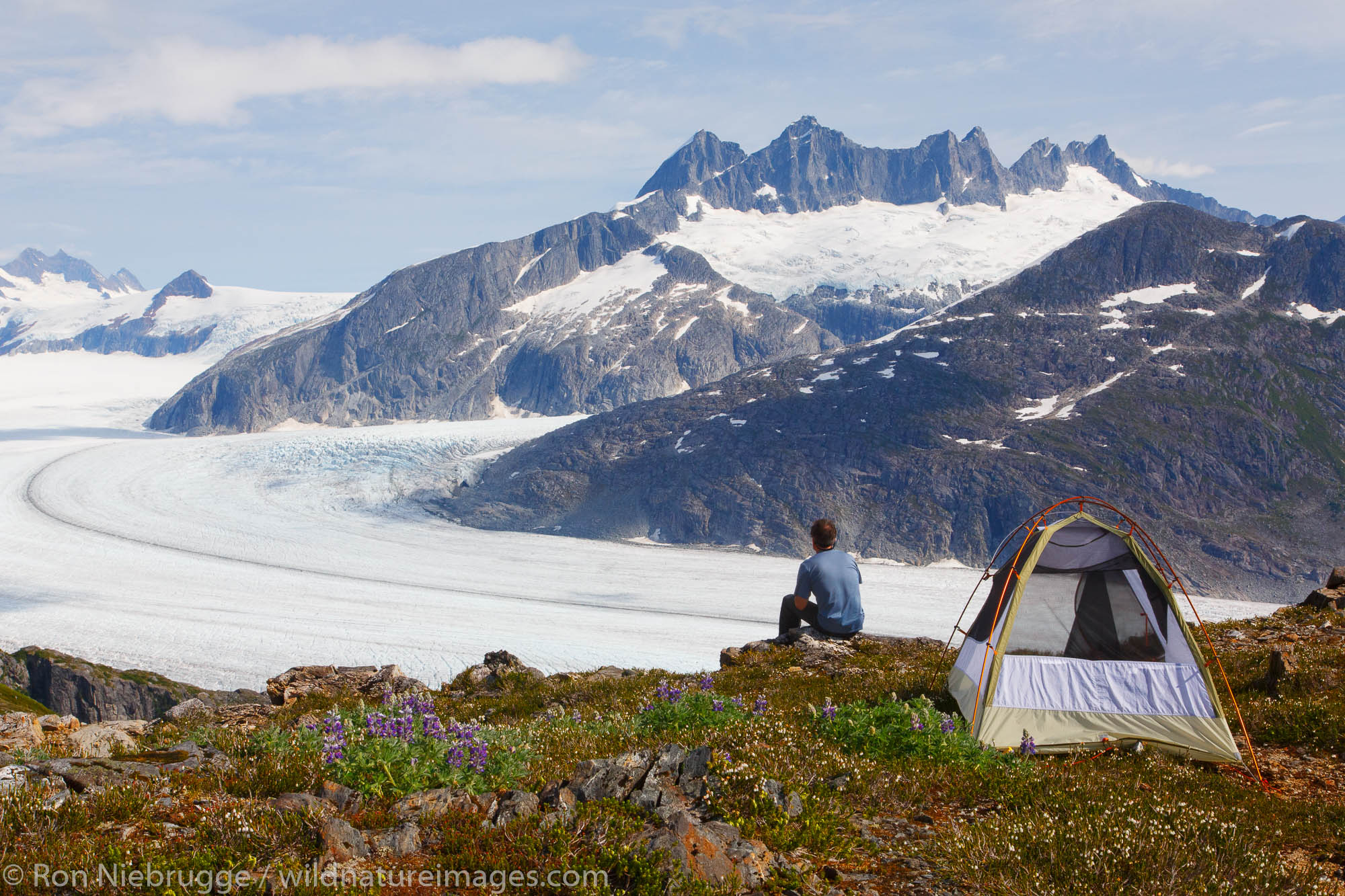 Camping on Mount Stroller White above the Mendenhall Glacier, Tongass National Forest, Alaska. (model released)