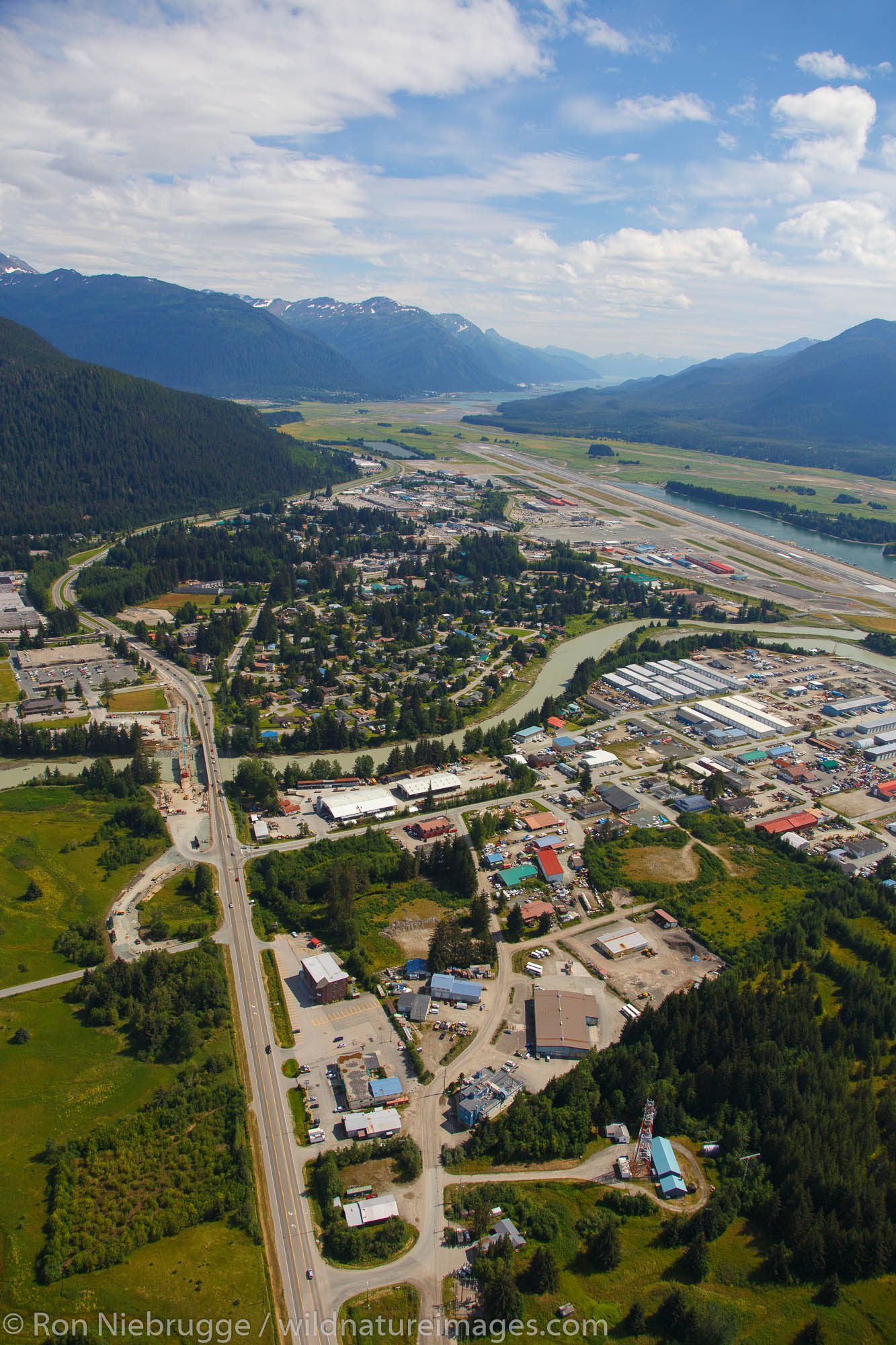 Aerial view of Mendenhall Valley, Juneau, Alaska.