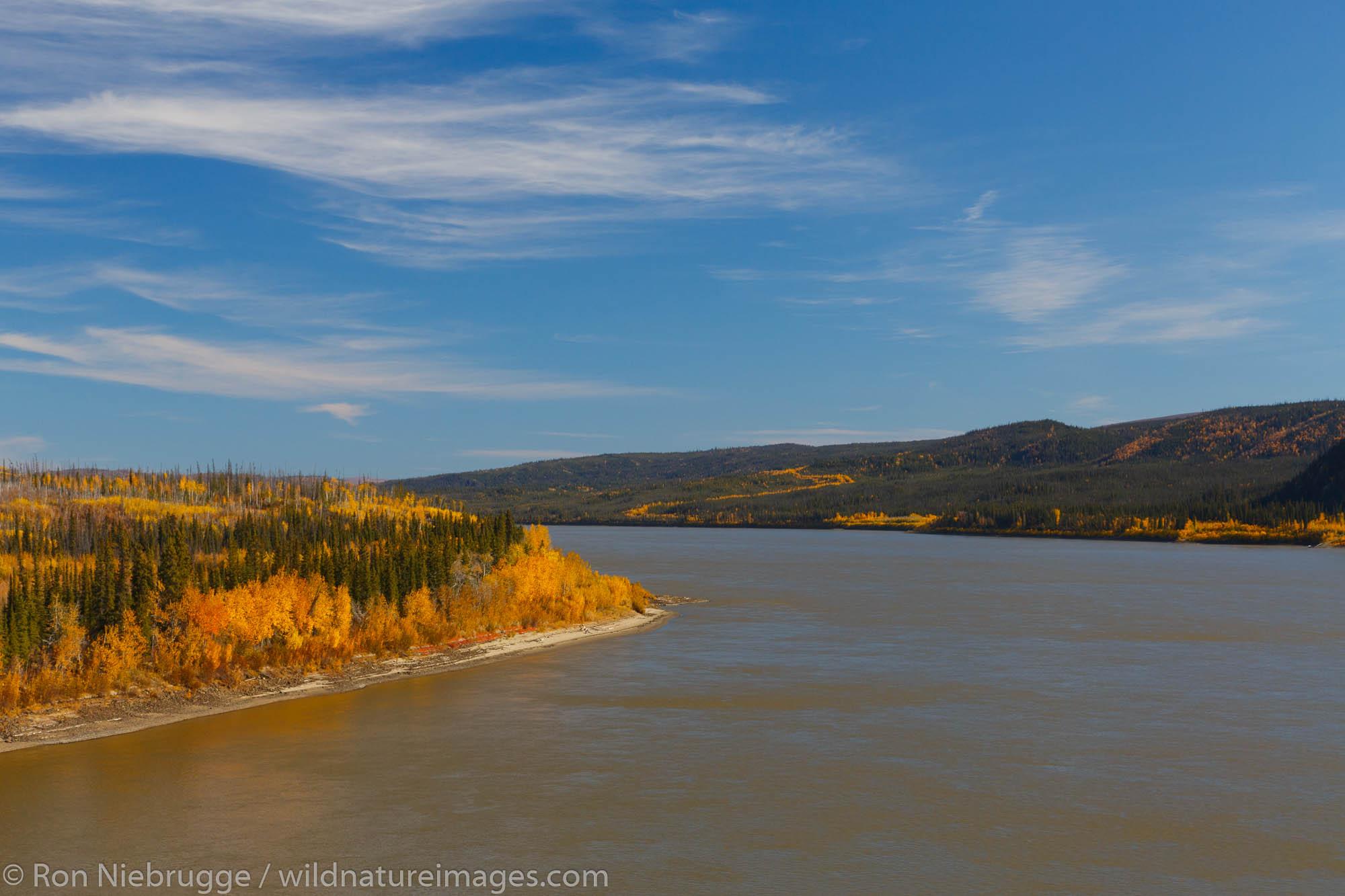 Autumn along the Yukon River from the Dalton Highway bridge Alaska.