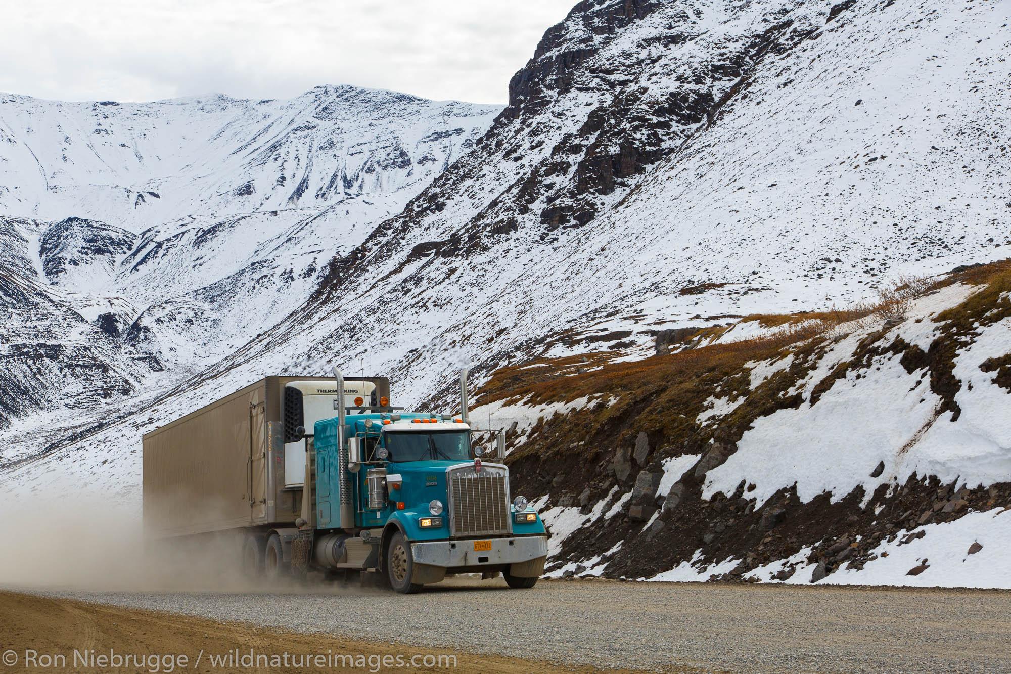 Truck on the Dalton Highway, Alaska.