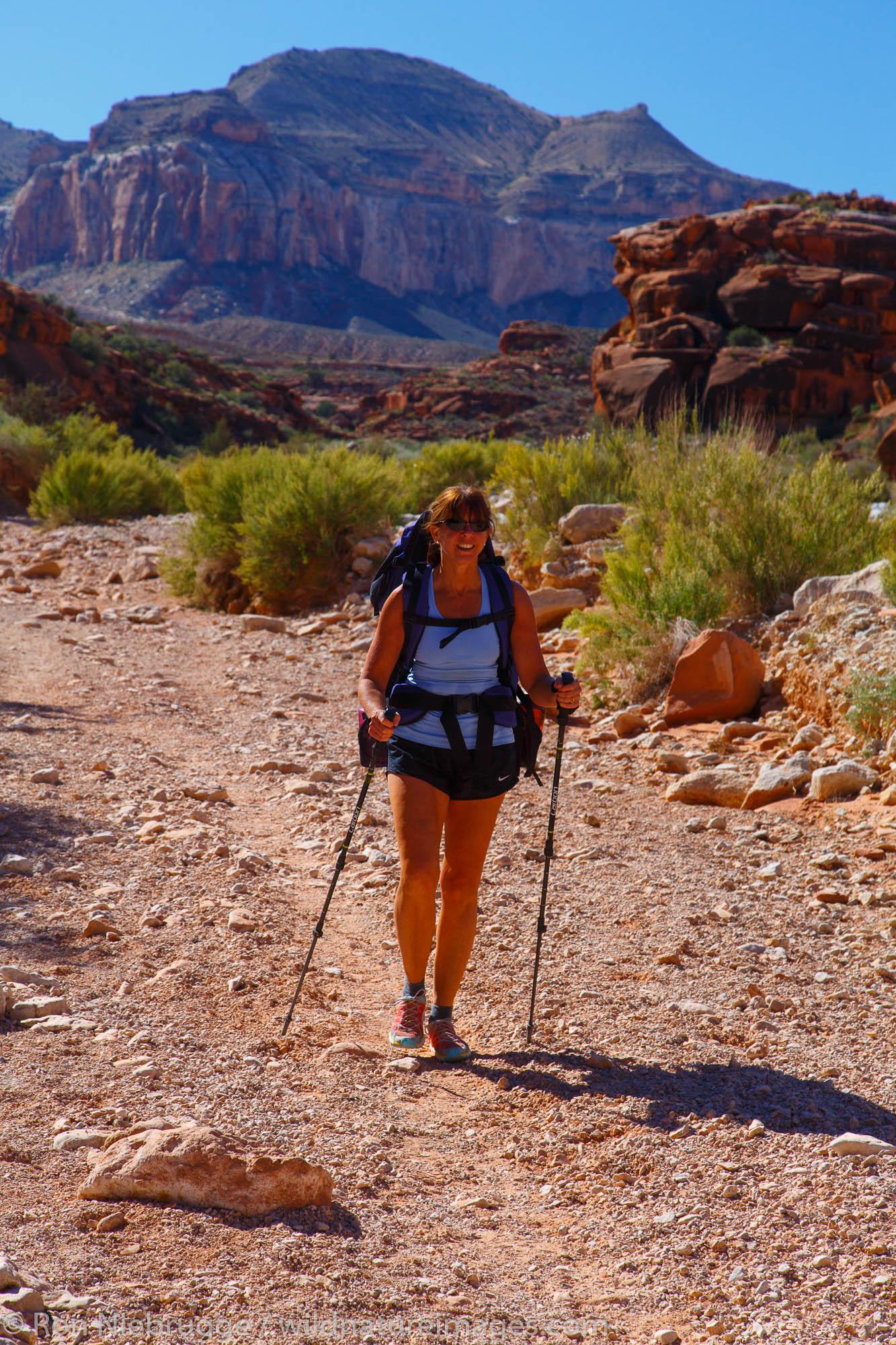 Hiking to Havasu Falls, Havasupai Indian Reservation, Grand Canyon, Arizona.