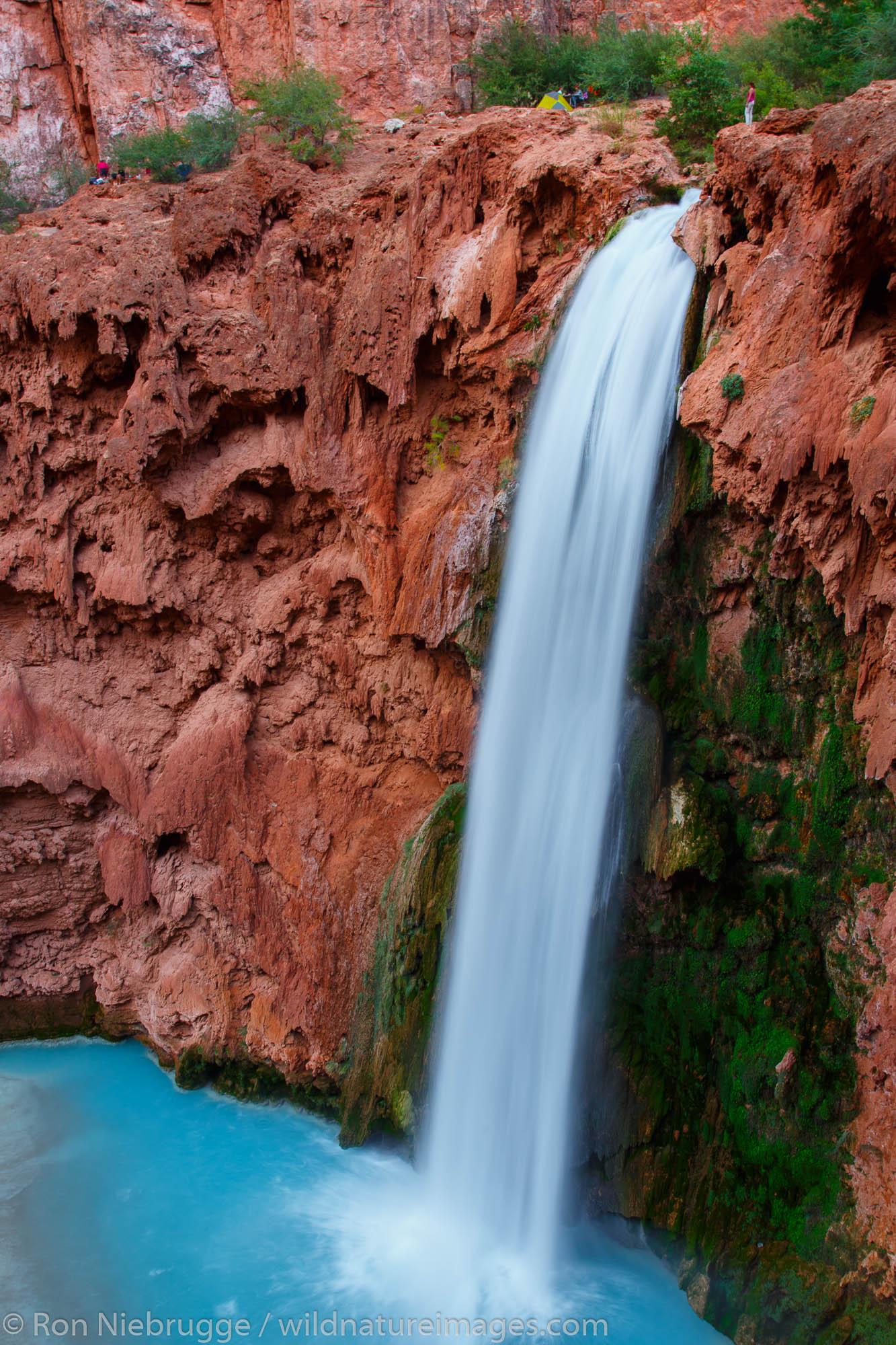 Hiker at Mooney Falls, Havasupai Indian Reservation, Grand Canyon, Arizona.