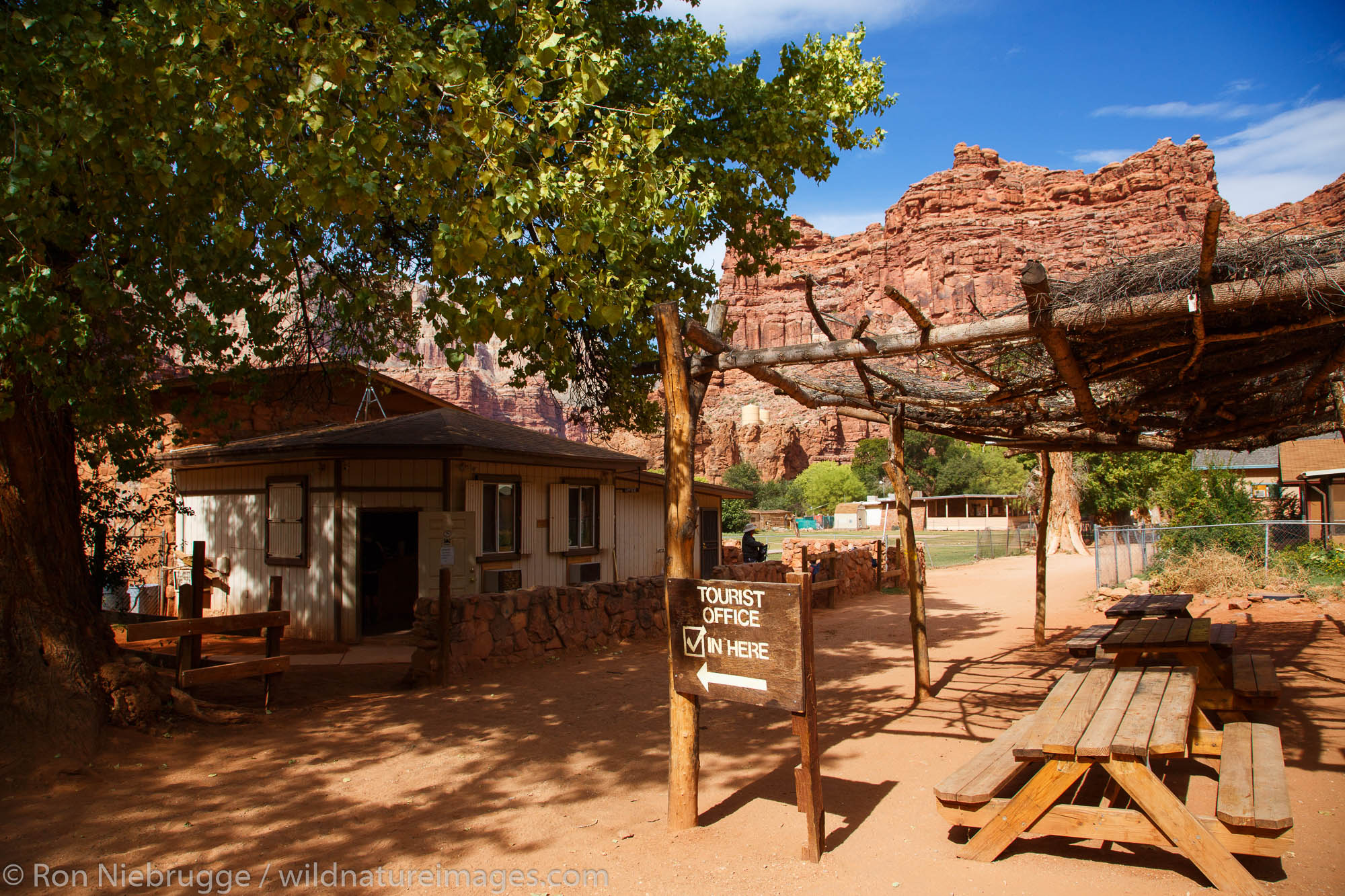 Village of Supai near Havasu Falls, Havasupai Indian Reservation, Grand Canyon, Arizona.
