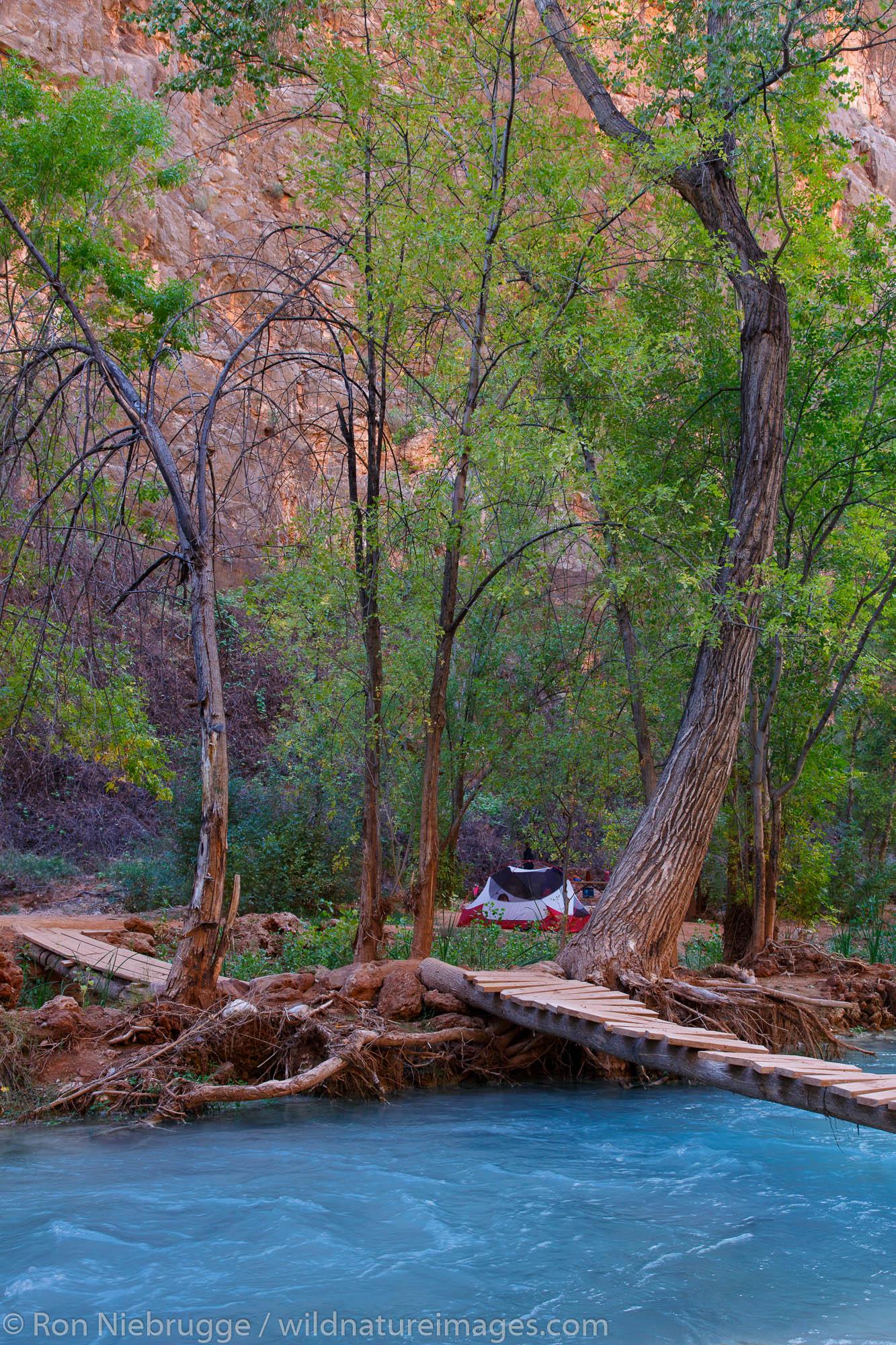 Campground at the base of Havasu Falls, Havasupai Indian Reservation, Grand Canyon, Arizona.