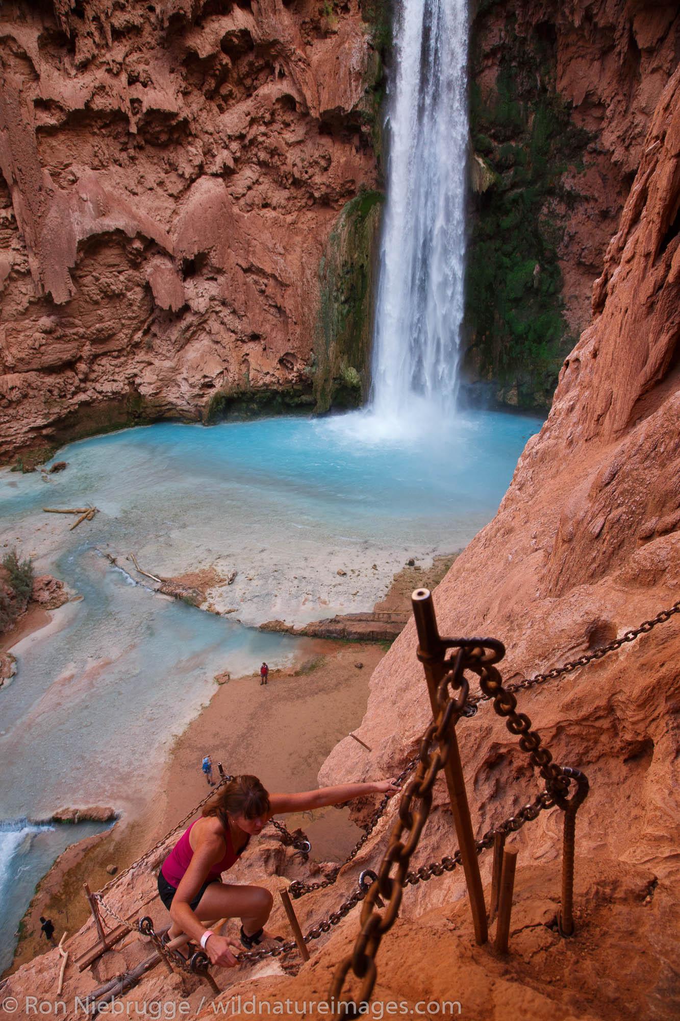 Trail to Mooney Falls, Havasupai Indian Reservation, Grand Canyon, Arizona.