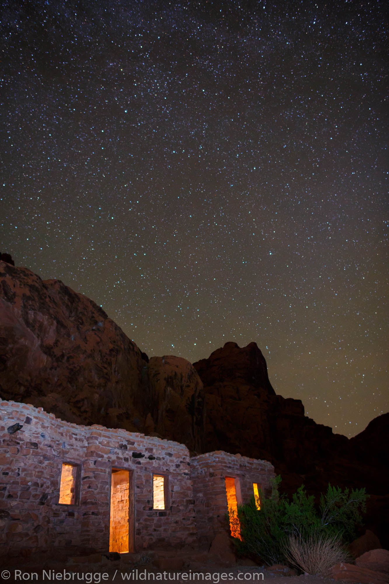 Night at the cabins, Valley of Fire State Park, near Las Vegas, Nevada.