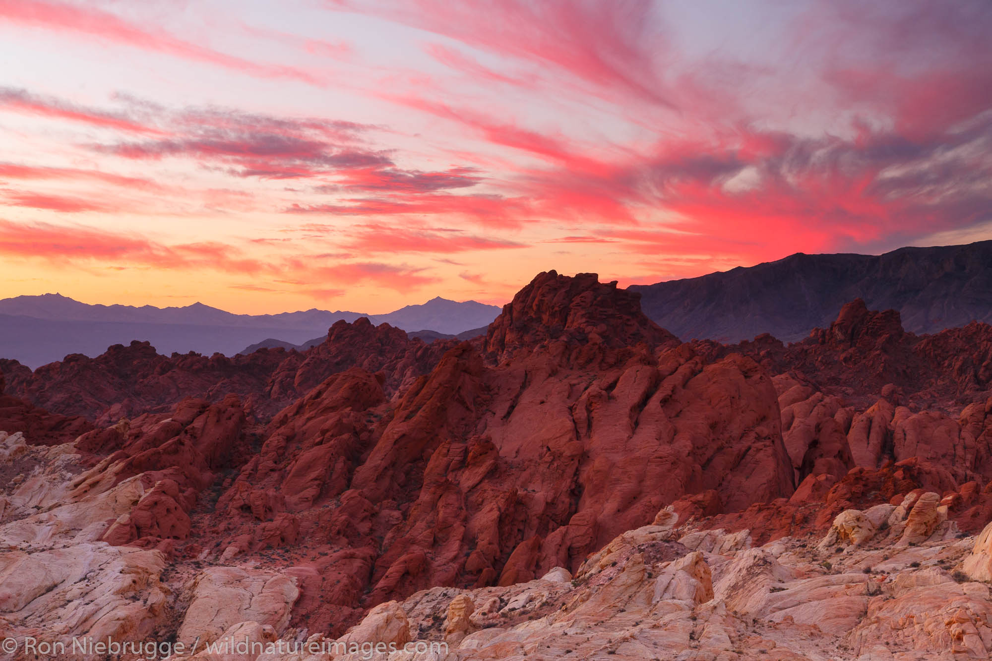 Sunrise over Silica Dome-Fire Canyon, Valley of Fire State Park, near Las Vegas, Nevada.
