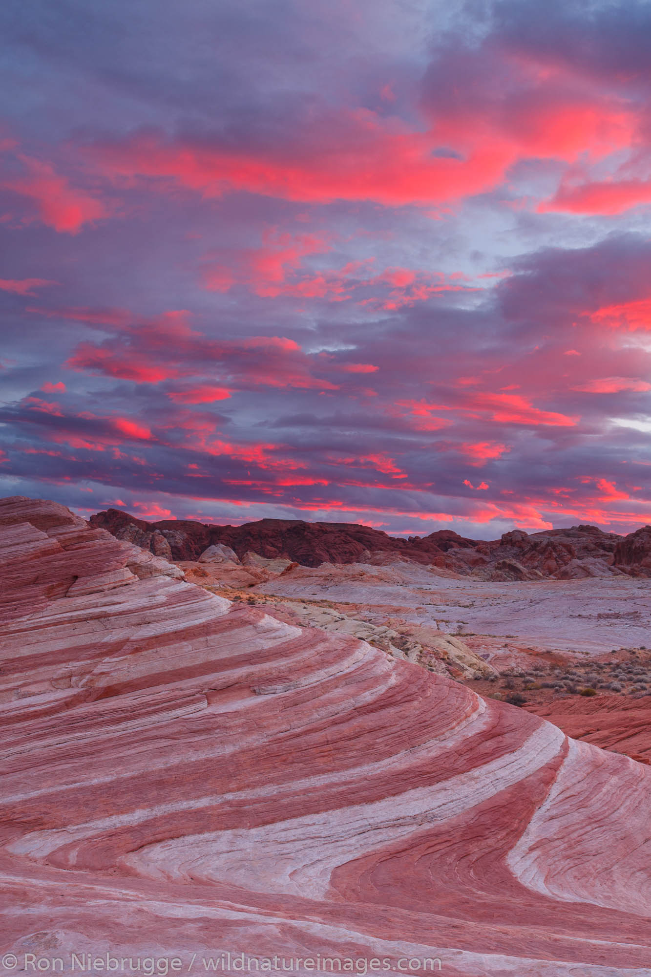 Sunset at Fire Wave, Valley of Fire State Park, not far from Las Vegas, Nevada.