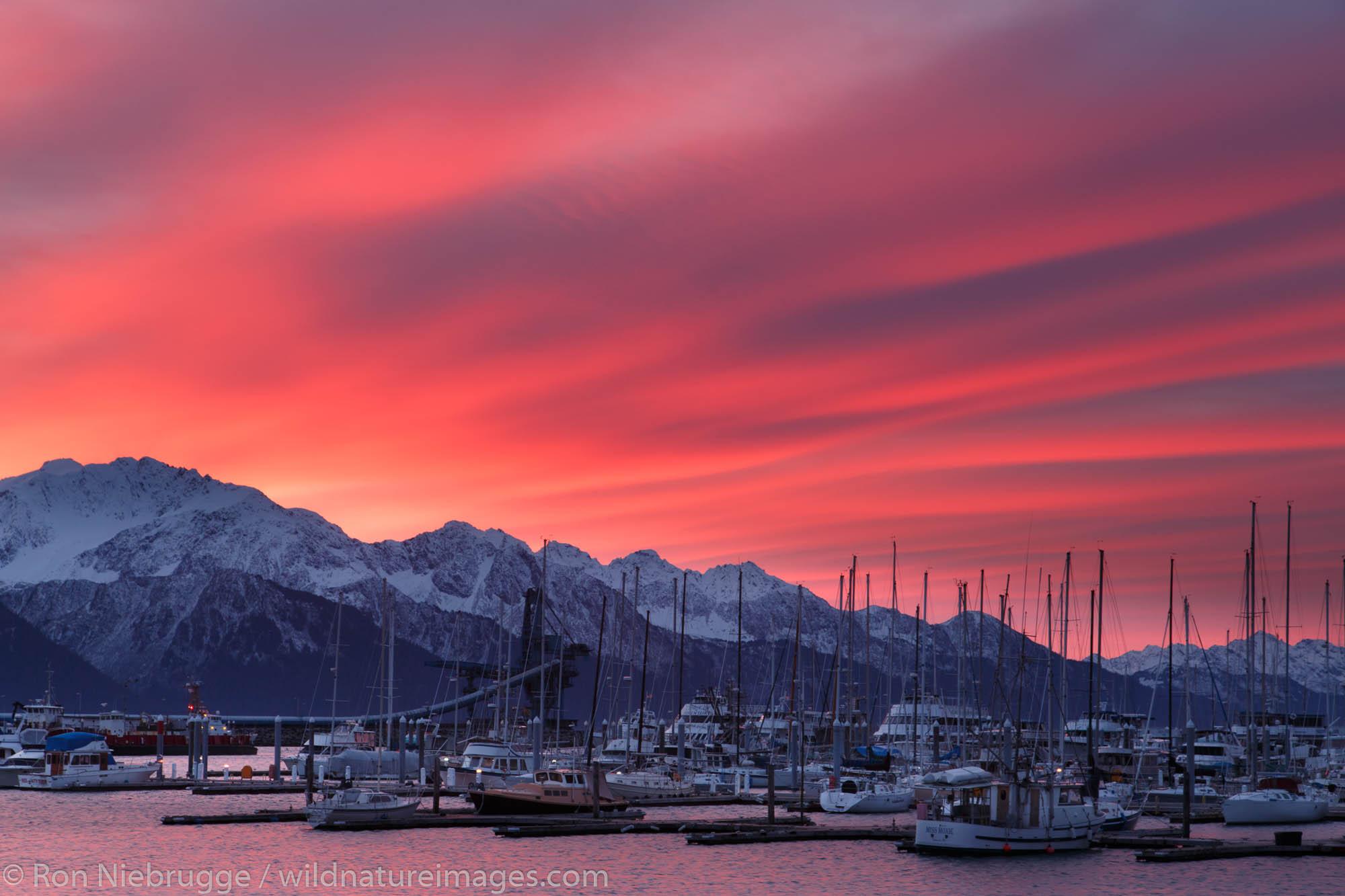 Sunrise, Small Boat Harbor, Seward, Alaska.
