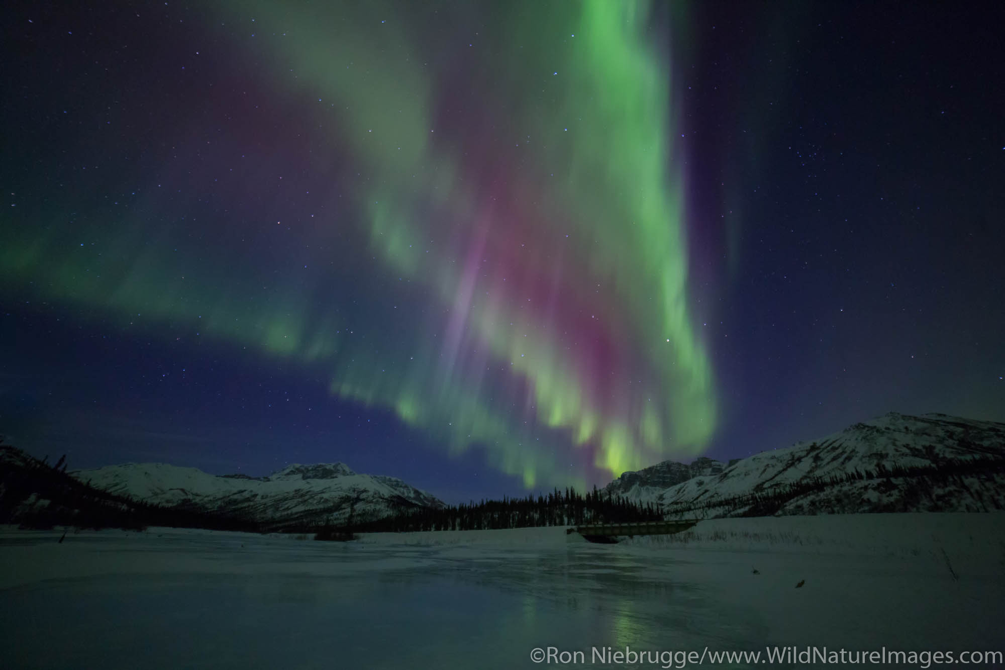 Aurora Borealis over the Brooks Range, Alaska.