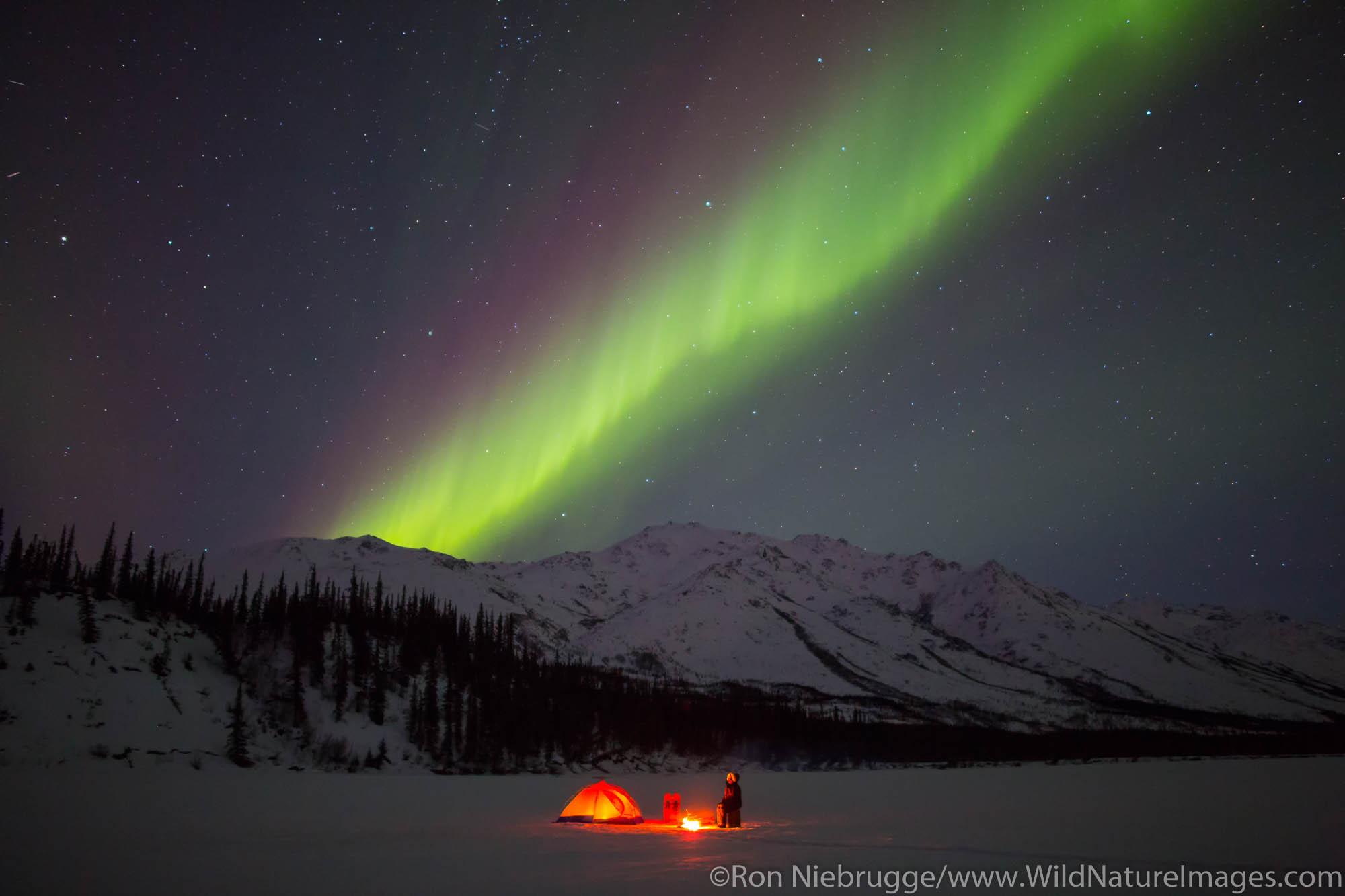 Camping under the Aurora Borealis in the Brooks Range, Alaska.