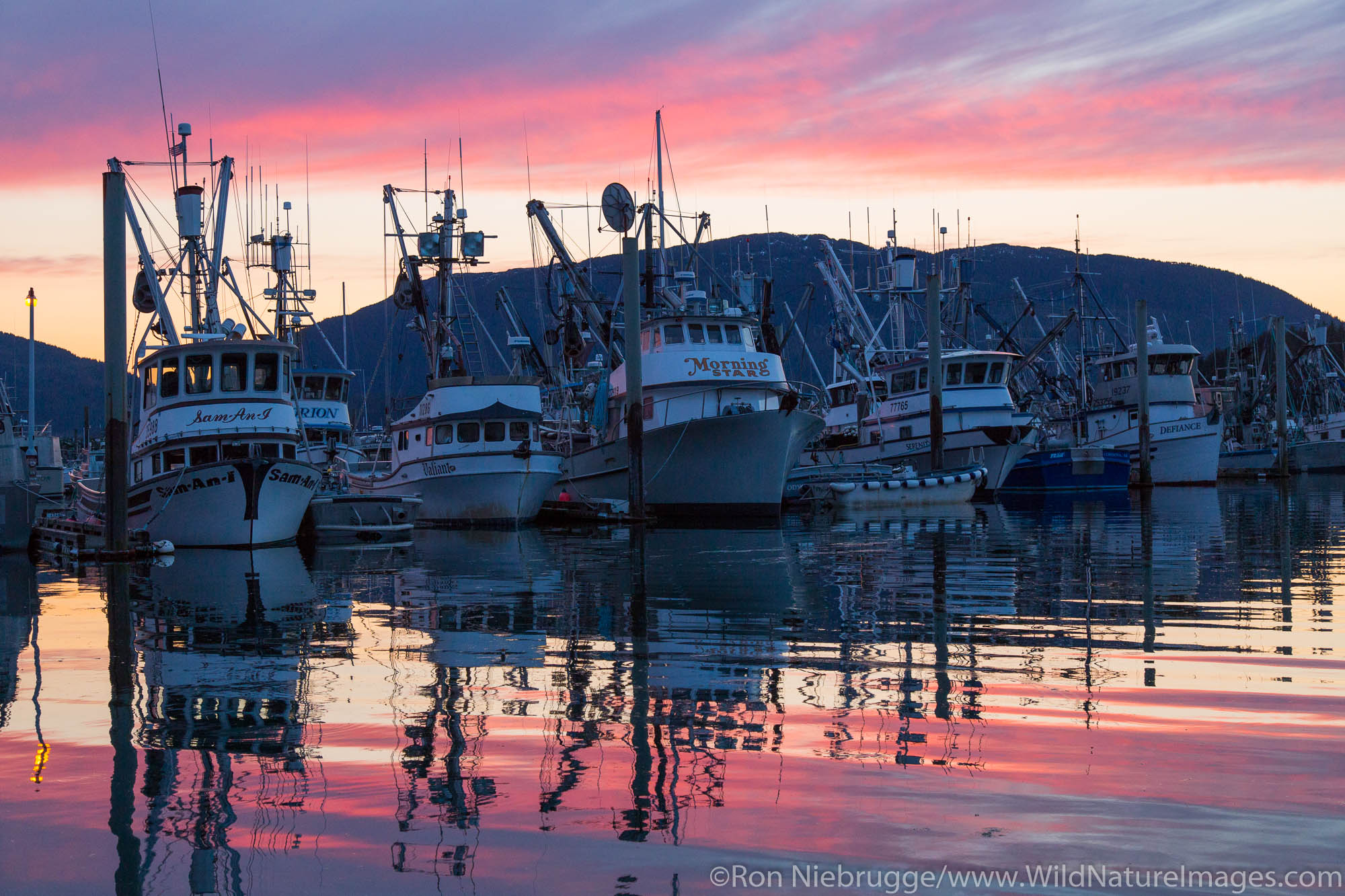 Boat harbor at sunsett, Cordova, Alaska.