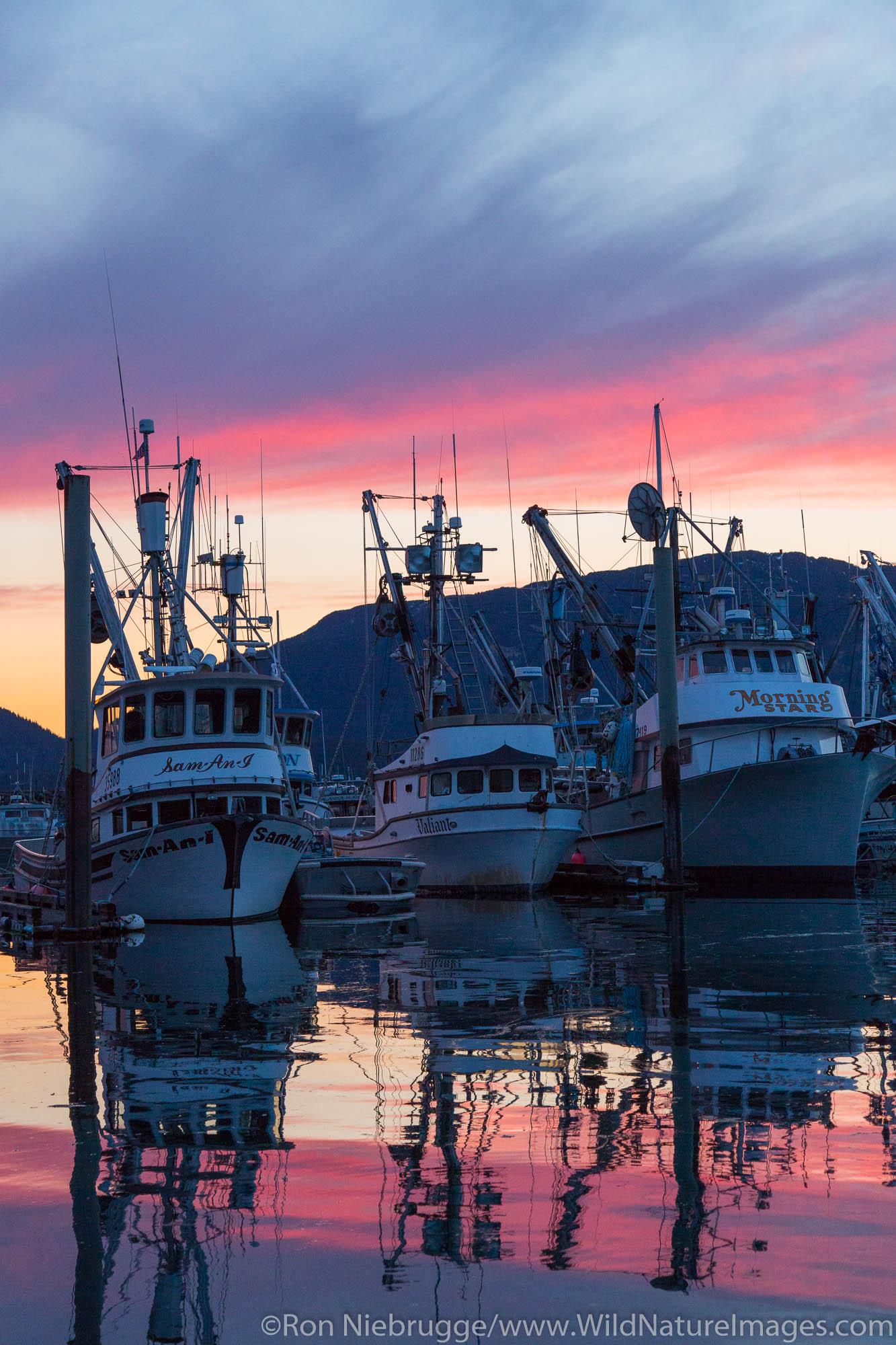 Boat harbor at sunsett, Cordova, Alaska.