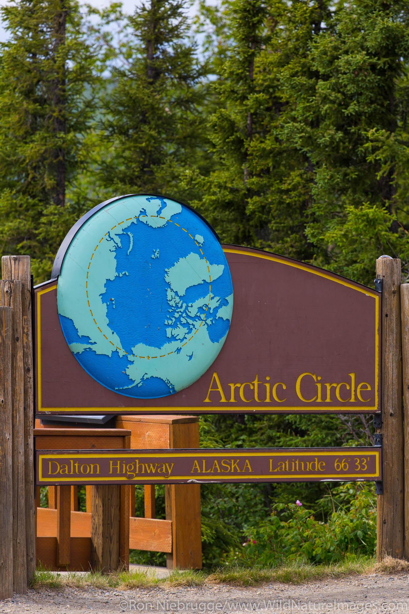 Arctic Circle sign, Dalton Highway, Alaska.