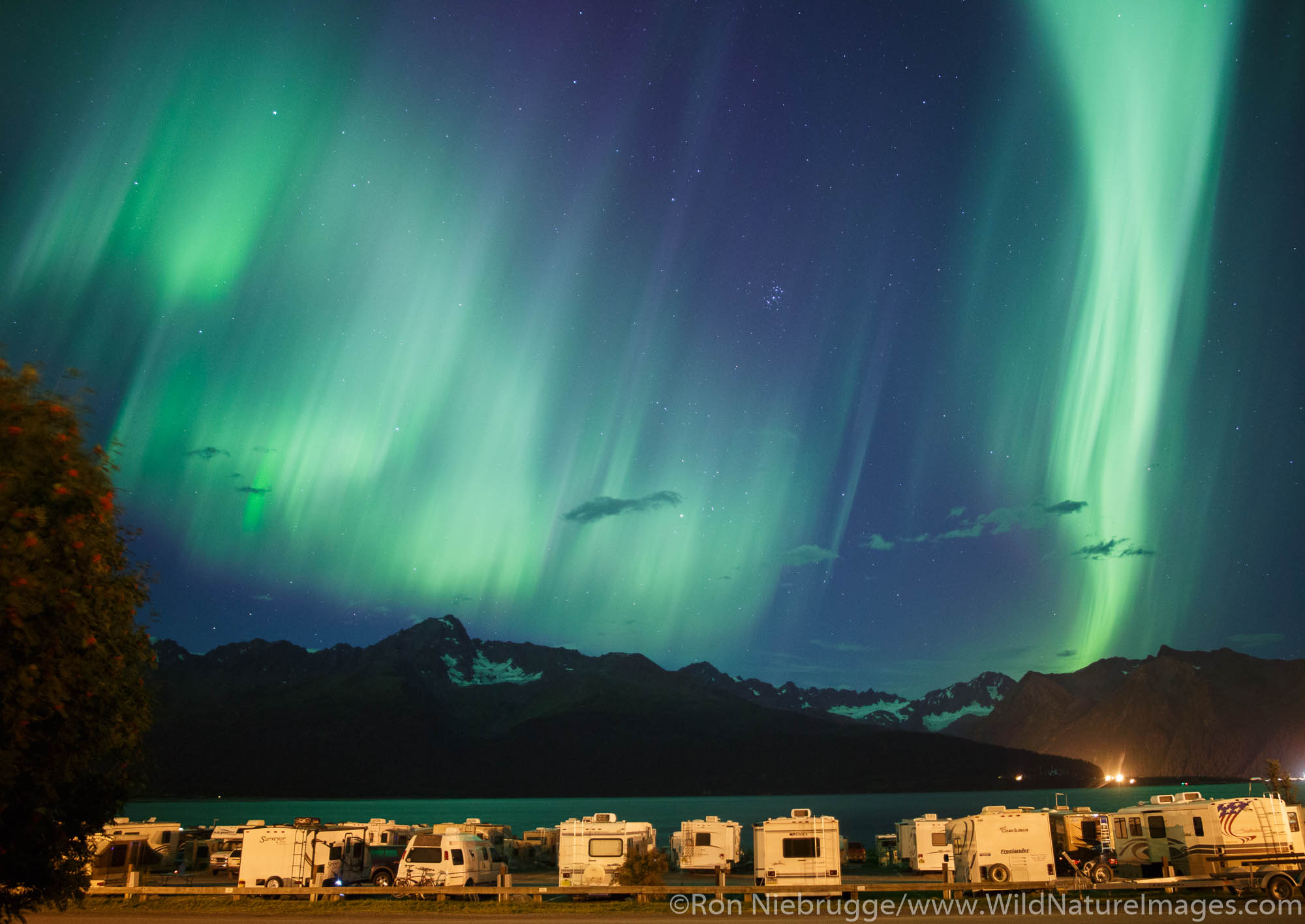 Northern lights dance above the town of Seward, Alaska.