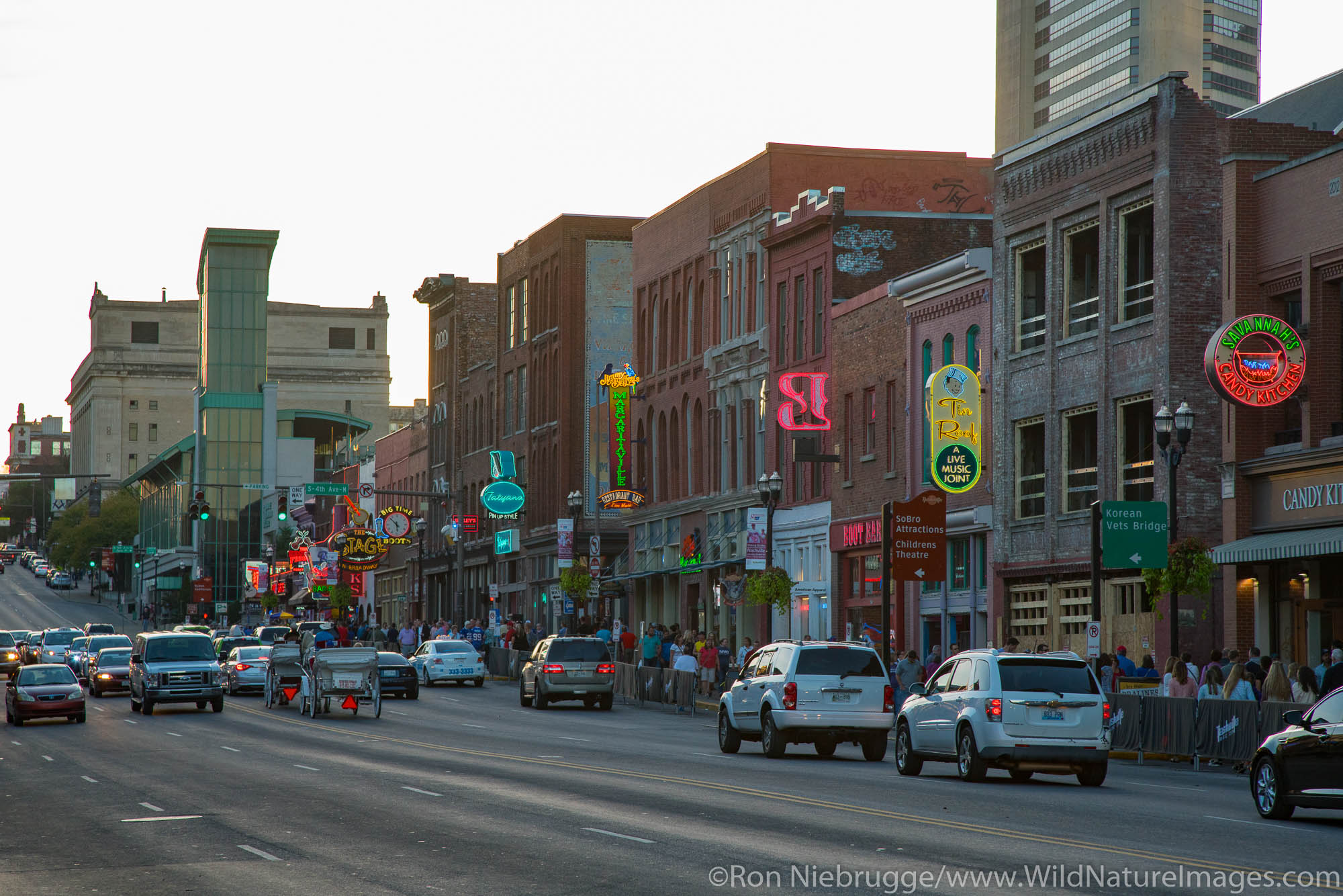 Honky-tonks in downtown Nashville,  Tennessee.