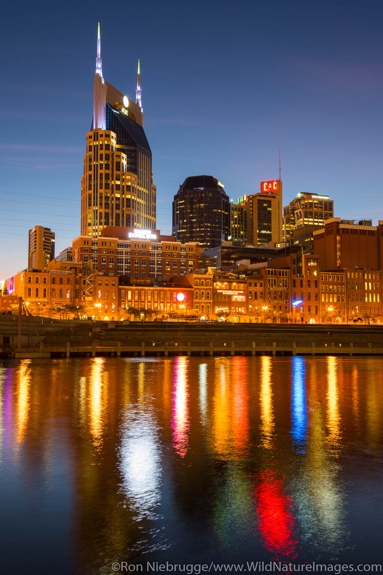 Nashville skyline at night.  Nashville,  Tennessee.