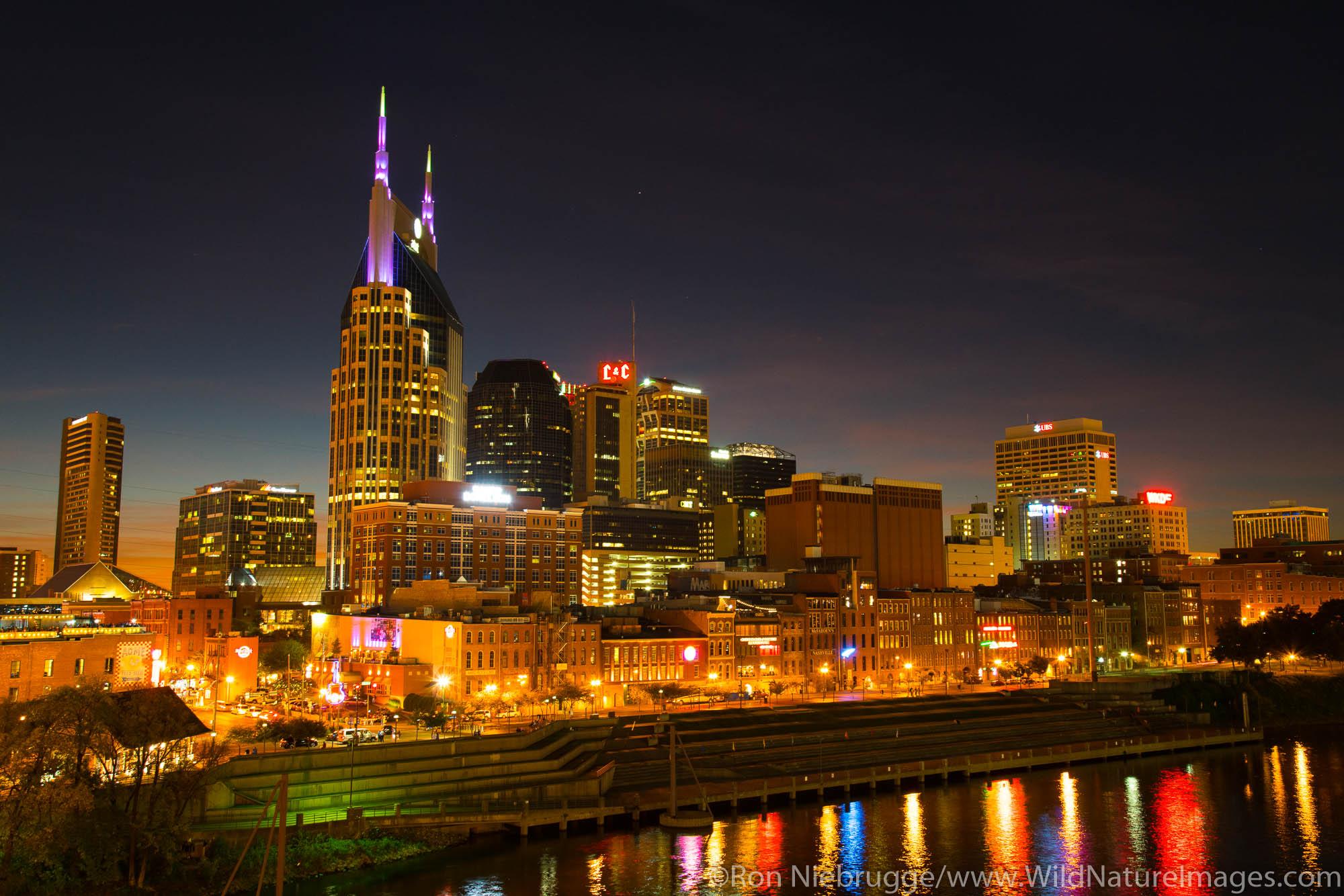 Nashville skyline at night.  Nashville,  Tennessee.