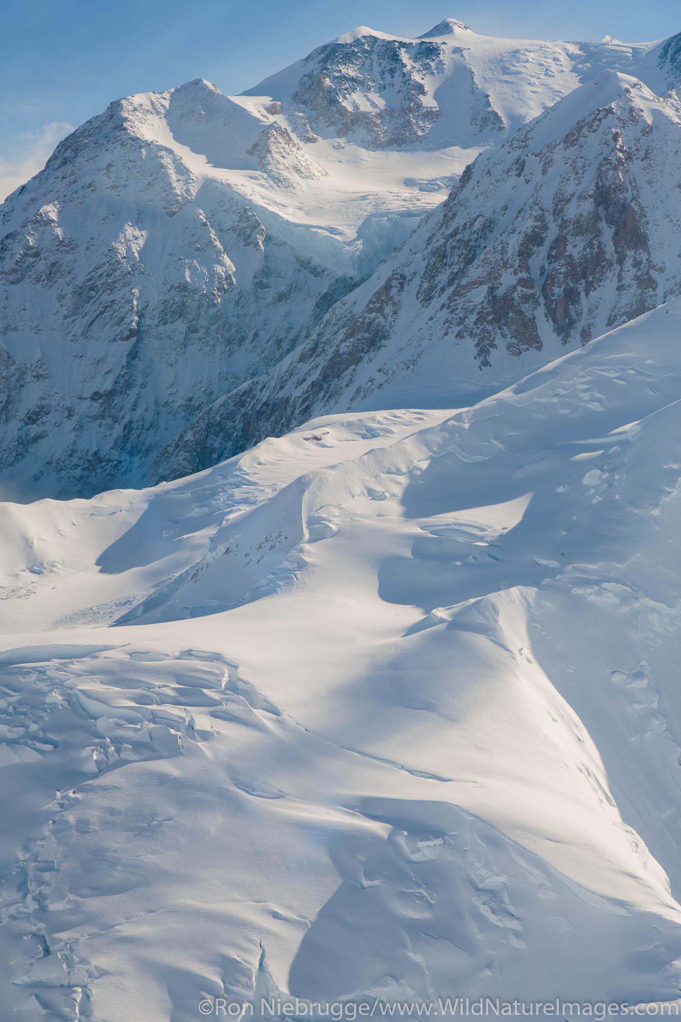 Aerial flight over Mt Denali, Denali National Park, Alaska.