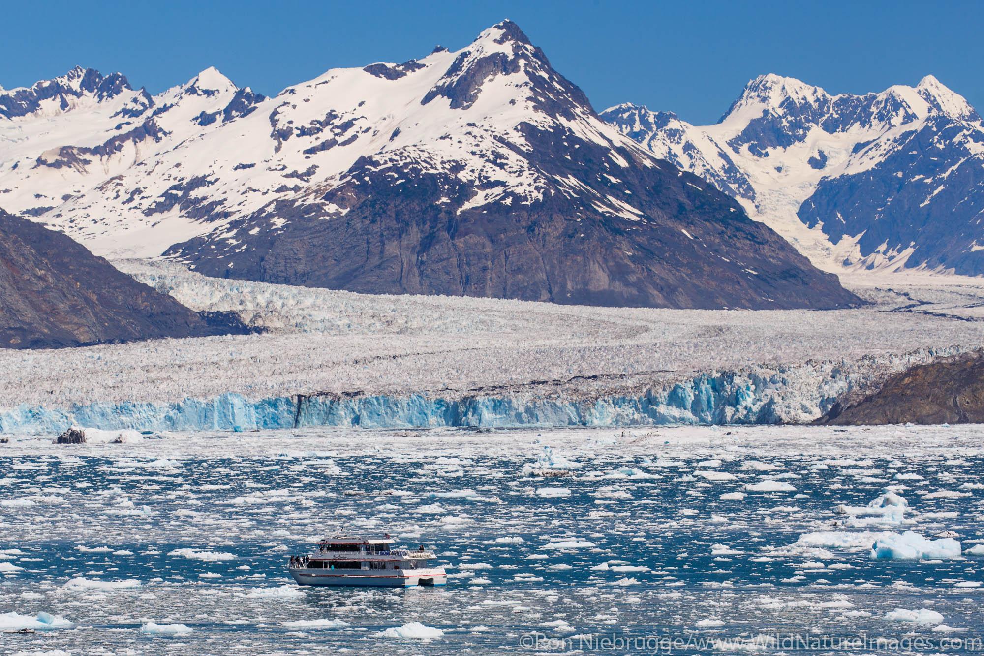 Tour boat at Columbia Glacier, Prince William Sound, Alaska.