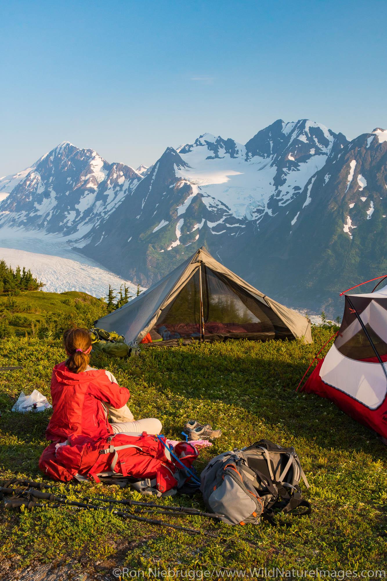 Backpacking to the Spencer Glacier Bench, Chugach National Forest, Alaska.