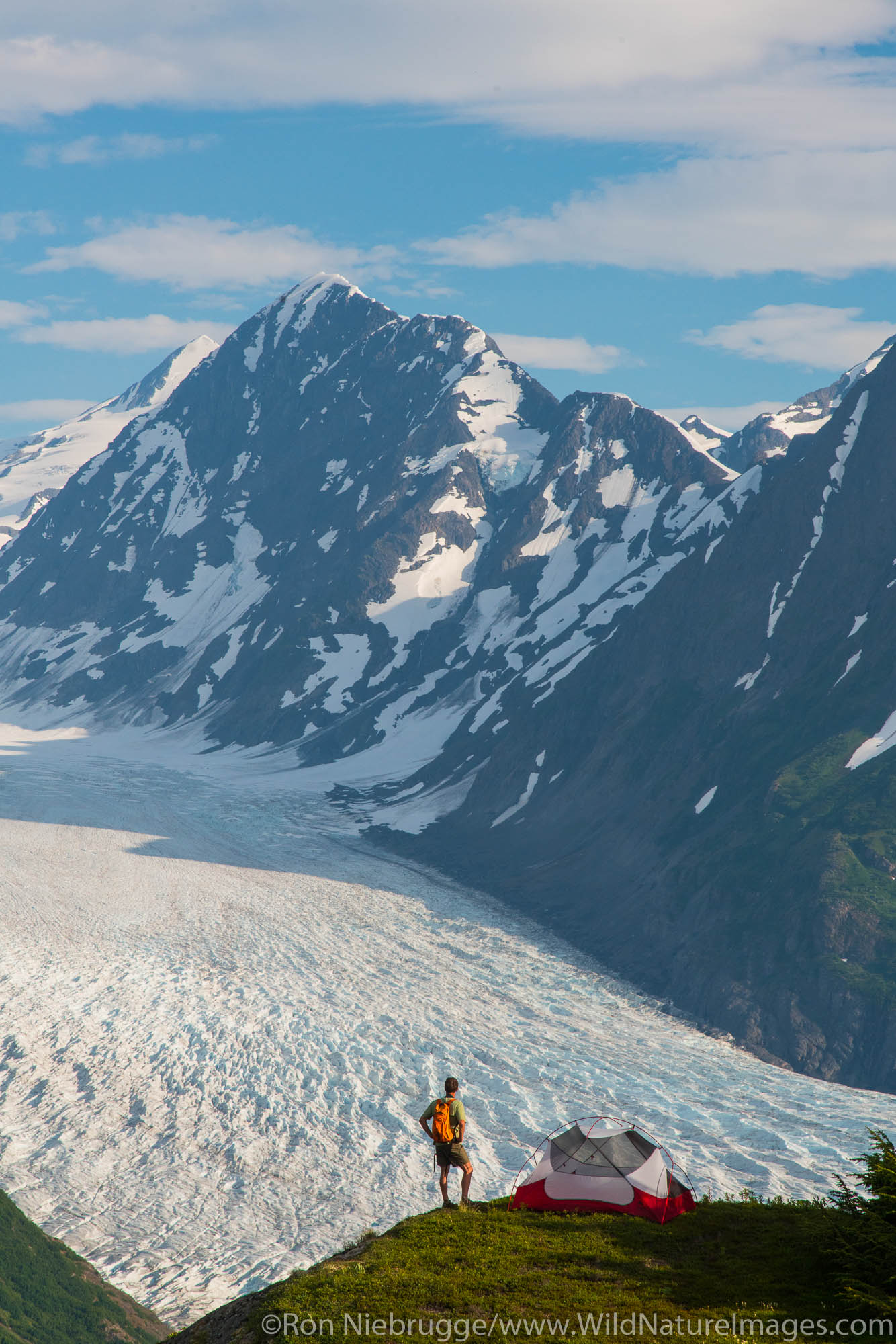Backpacking trip to the Spencer Glacier Bench, Chugach National Forest, Alaska.