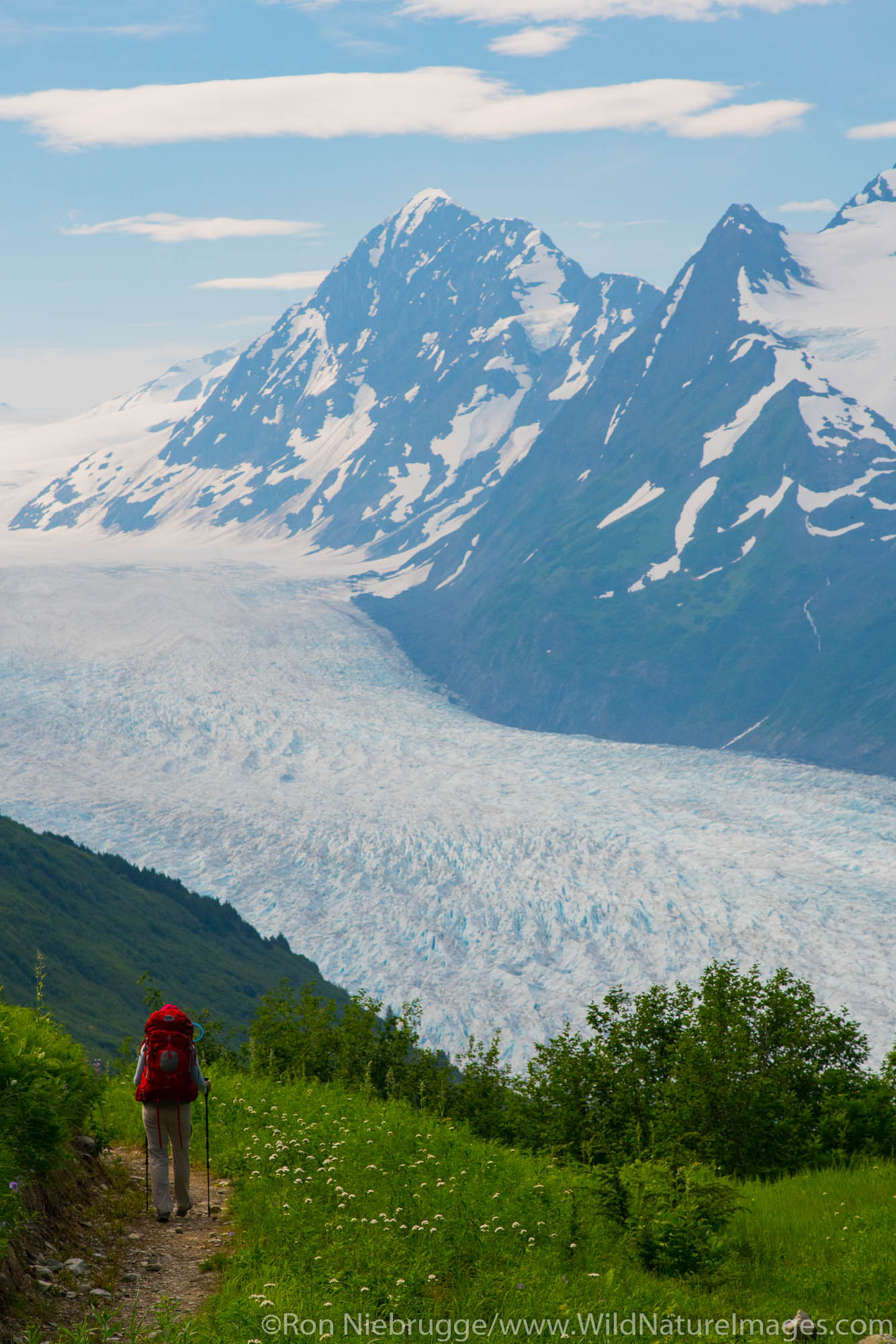 Backpacking to the Spencer Glacier Bench Cabin, Chugach National Forest, Alaska.