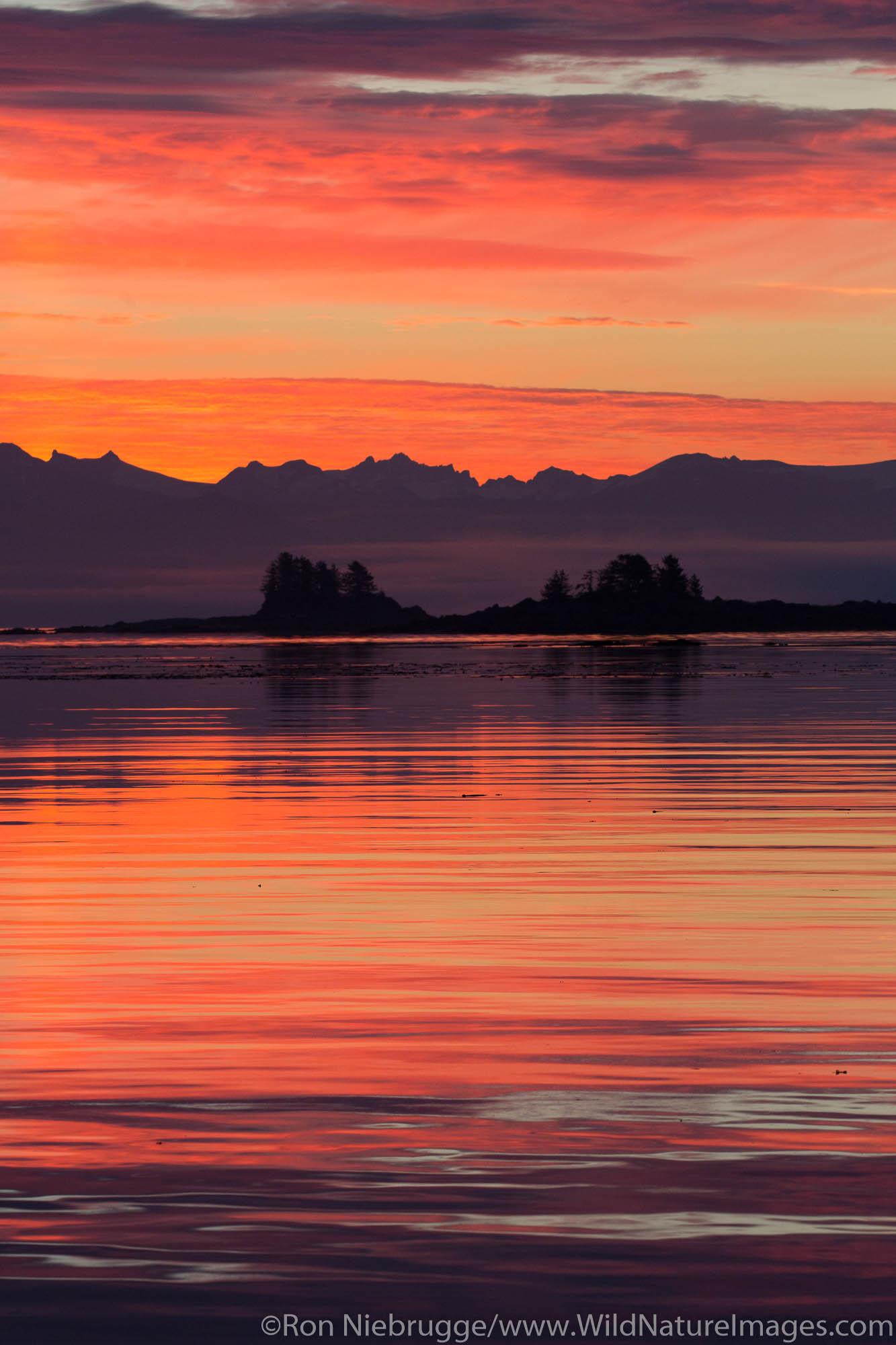 Sunrise over Frederick Sound, Tongass National Forest, Alaska.