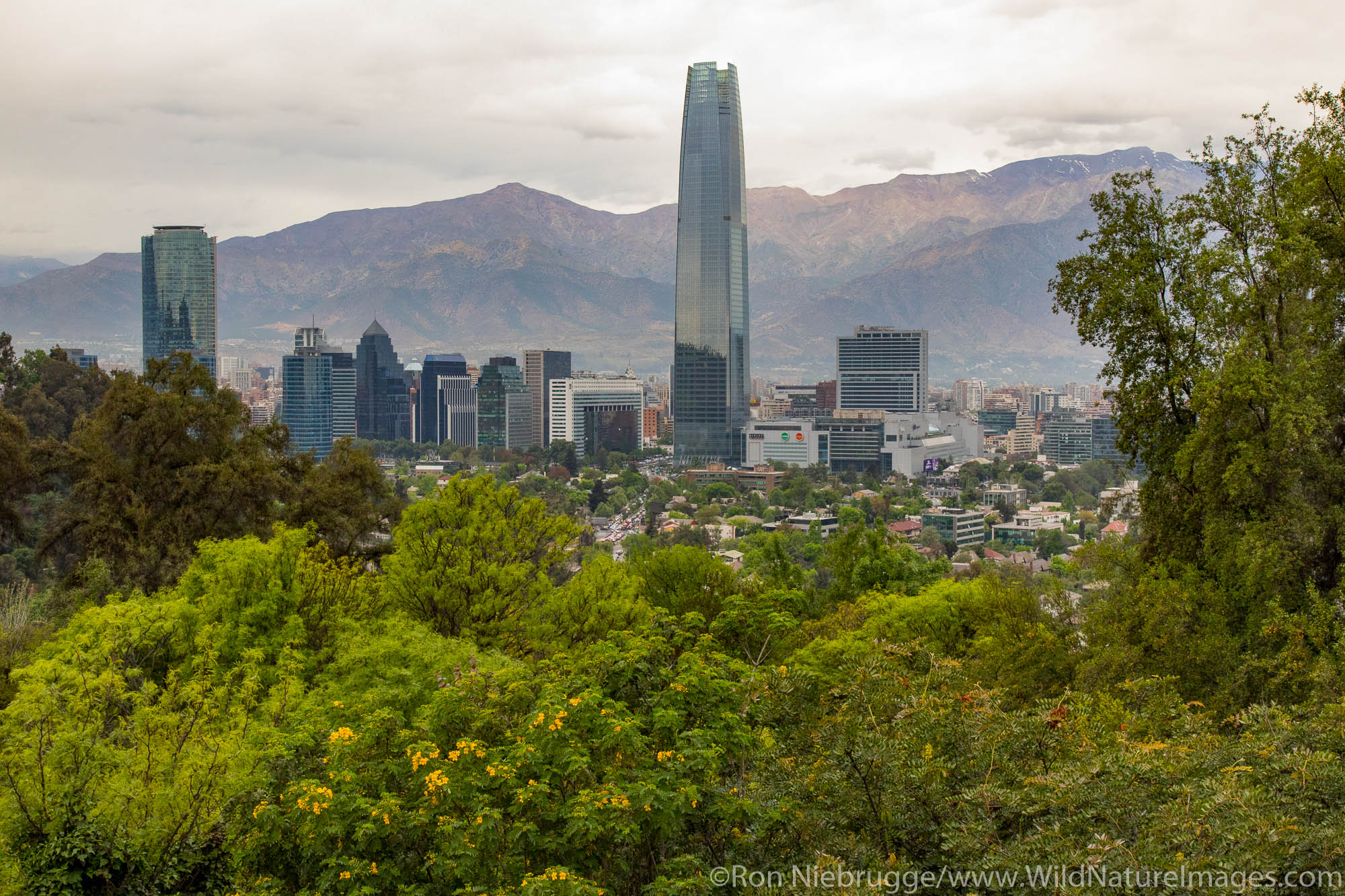 View from San Cristobal Hil, Santiago, Chile
