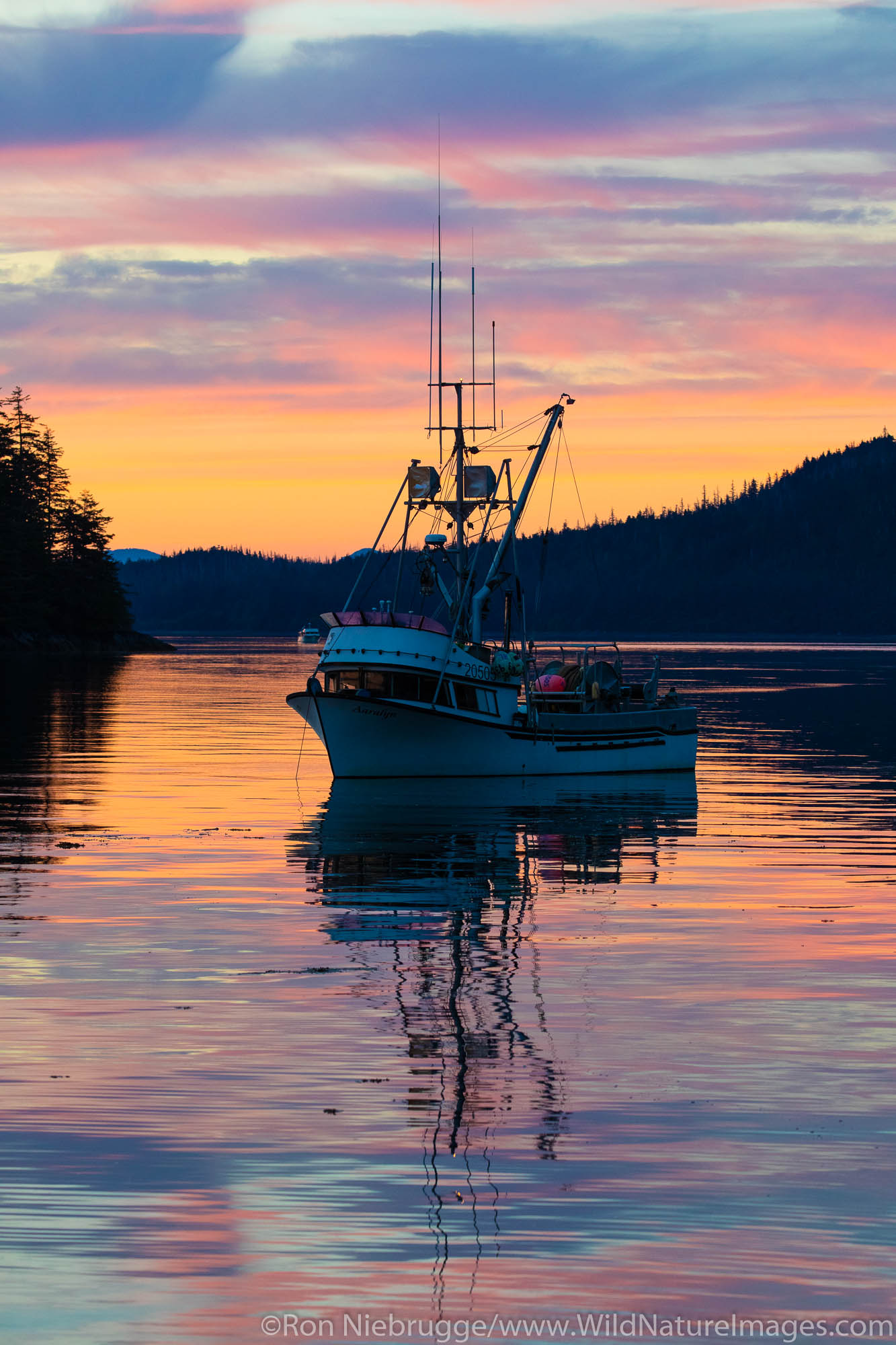 Sunset over Frederick Sound from Cape Fanshaw, Tongass National Forest, Alaska.