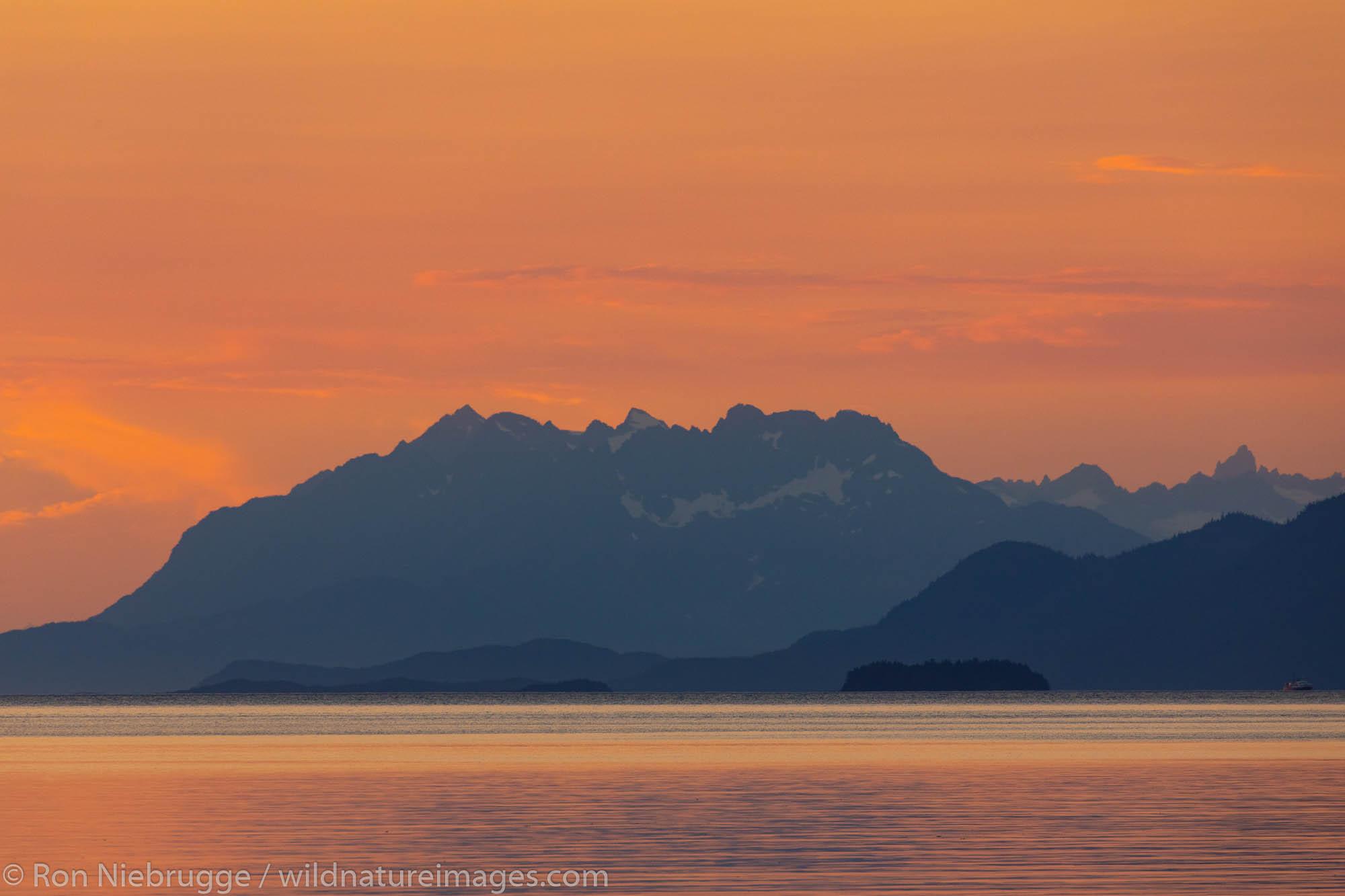 Sunset near Juneau, Tongass National Forest, Alaska.