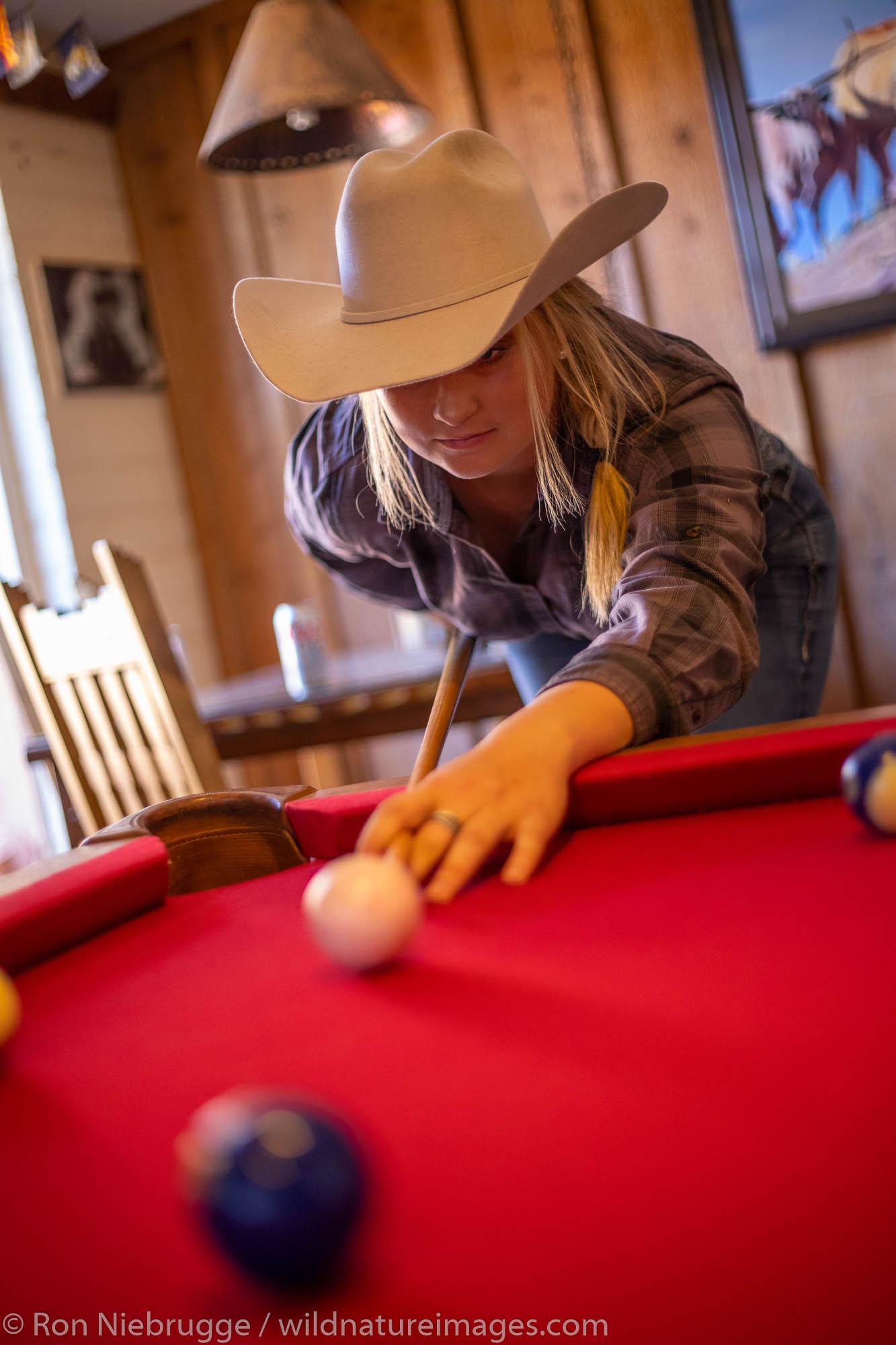 Playing pool, White Stallion Ranch, Tucson, Arizona.