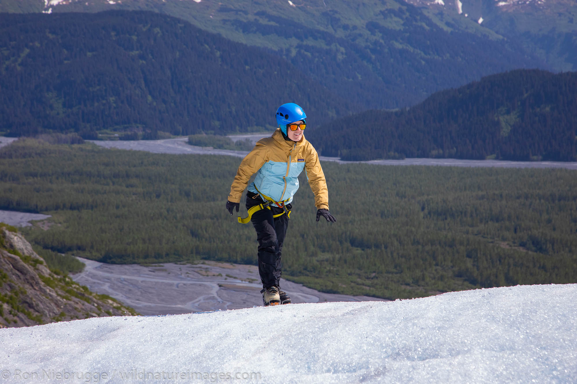 Climbing on Exit Glacier, Kenai Fjords National Park, near Seward, Alaska.