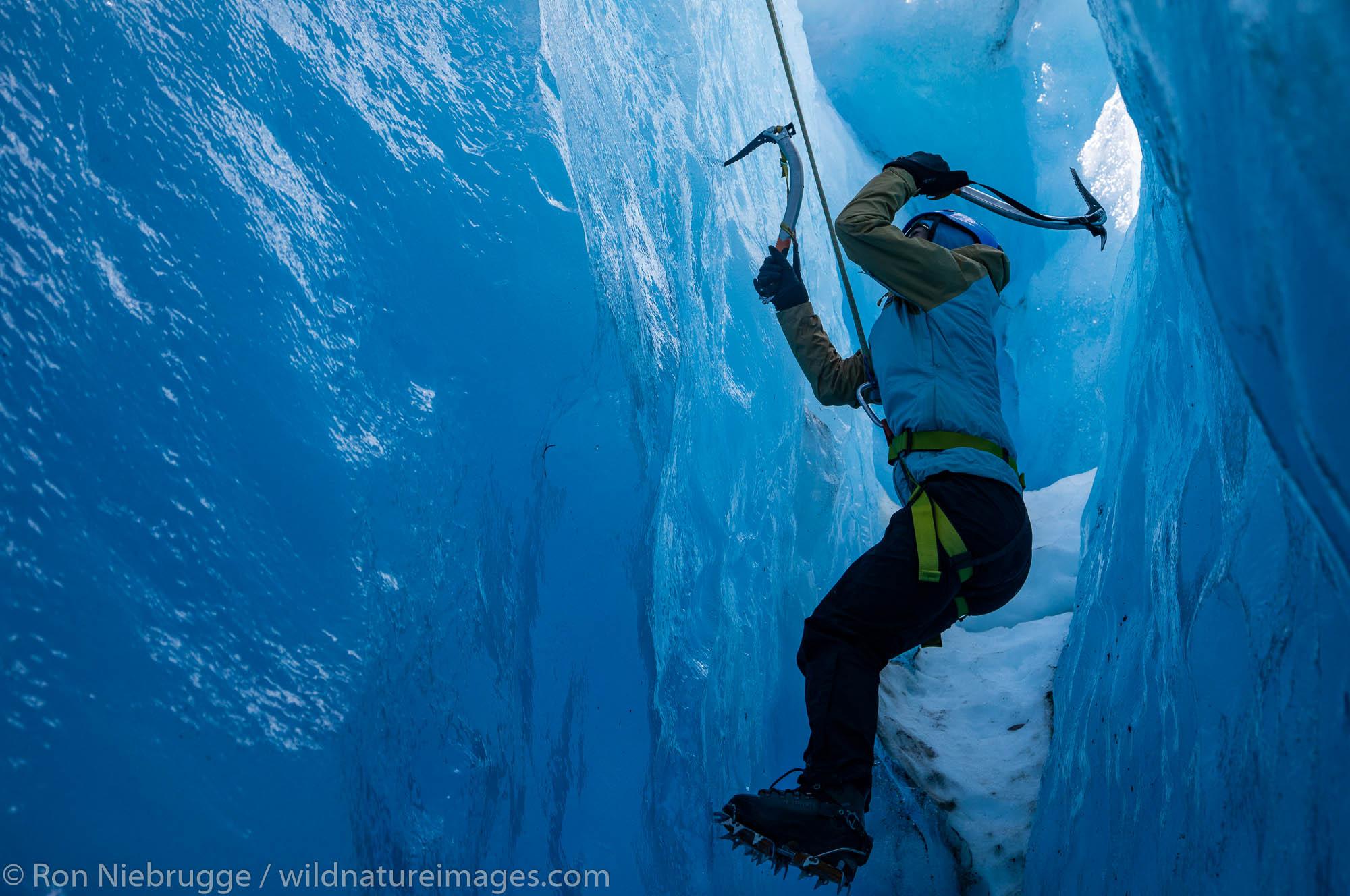 Climbing on Exit Glacier, Kenai Fjords National Park, near Seward, Alaska.