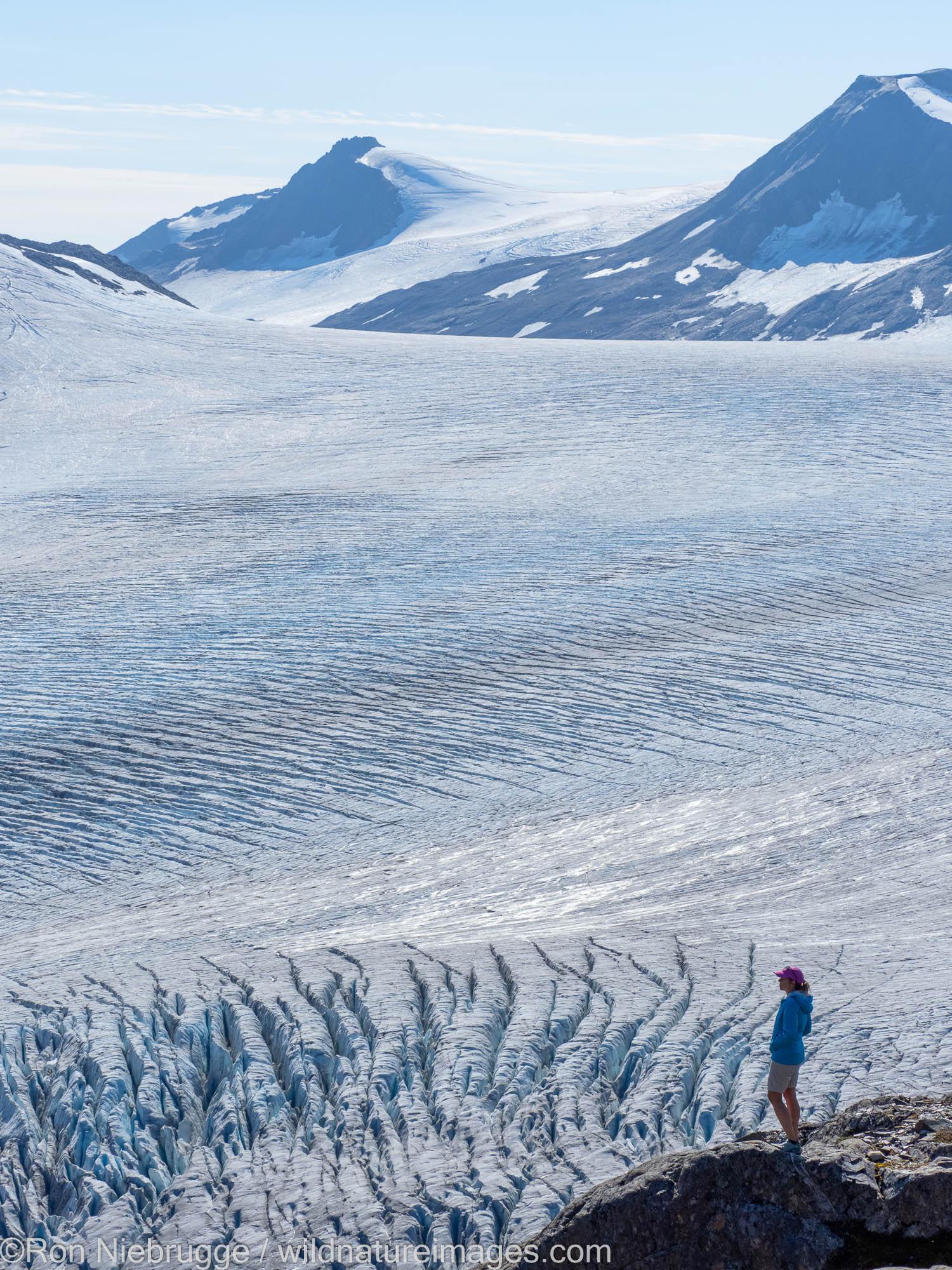 Hiker, Harding Icefield from Exit Glacier Trail, Kenai Fjords National Park, near Seward, Alaska.